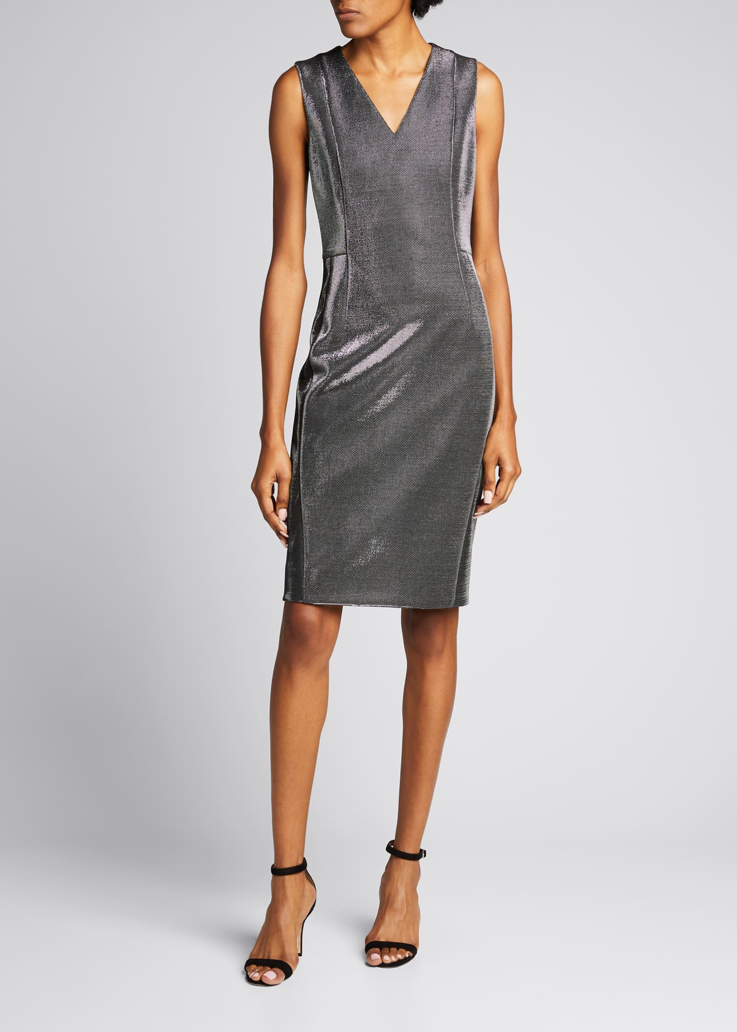 Image 3 of 5: Sleeveless V-Neck Metallic Cocktail Dress