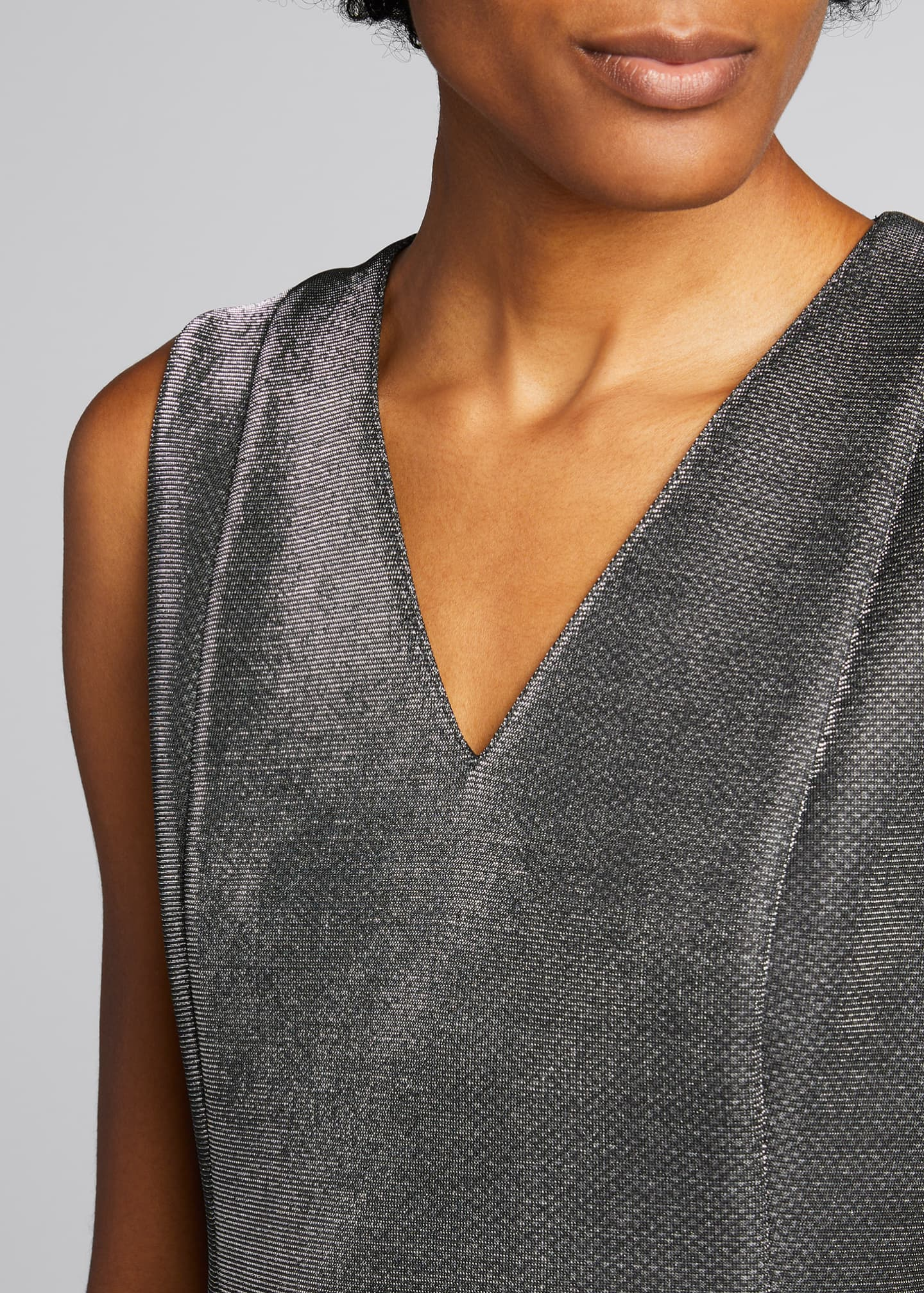 Image 4 of 5: Sleeveless V-Neck Metallic Cocktail Dress
