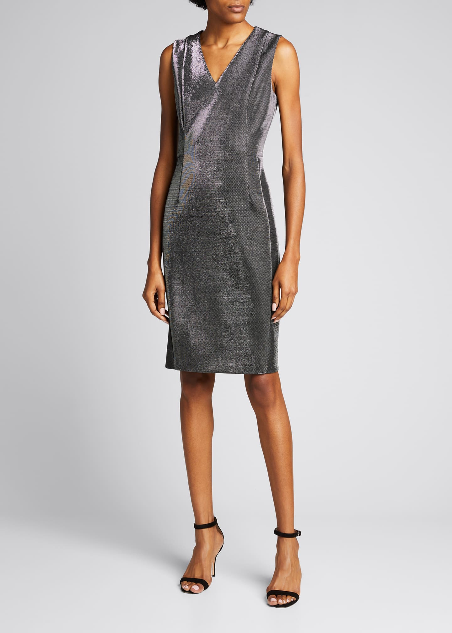 Image 1 of 5: Sleeveless V-Neck Metallic Cocktail Dress