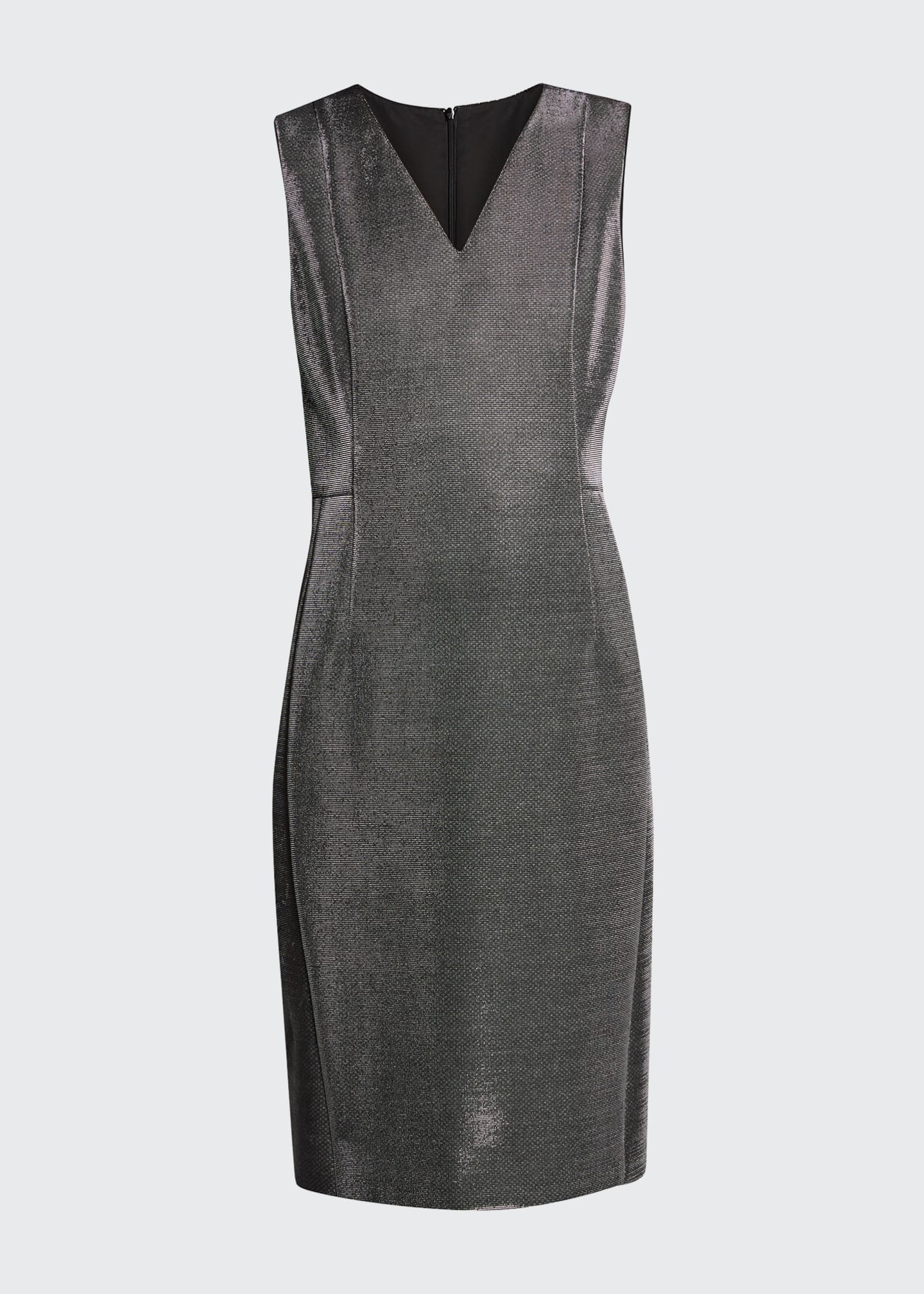 Image 5 of 5: Sleeveless V-Neck Metallic Cocktail Dress