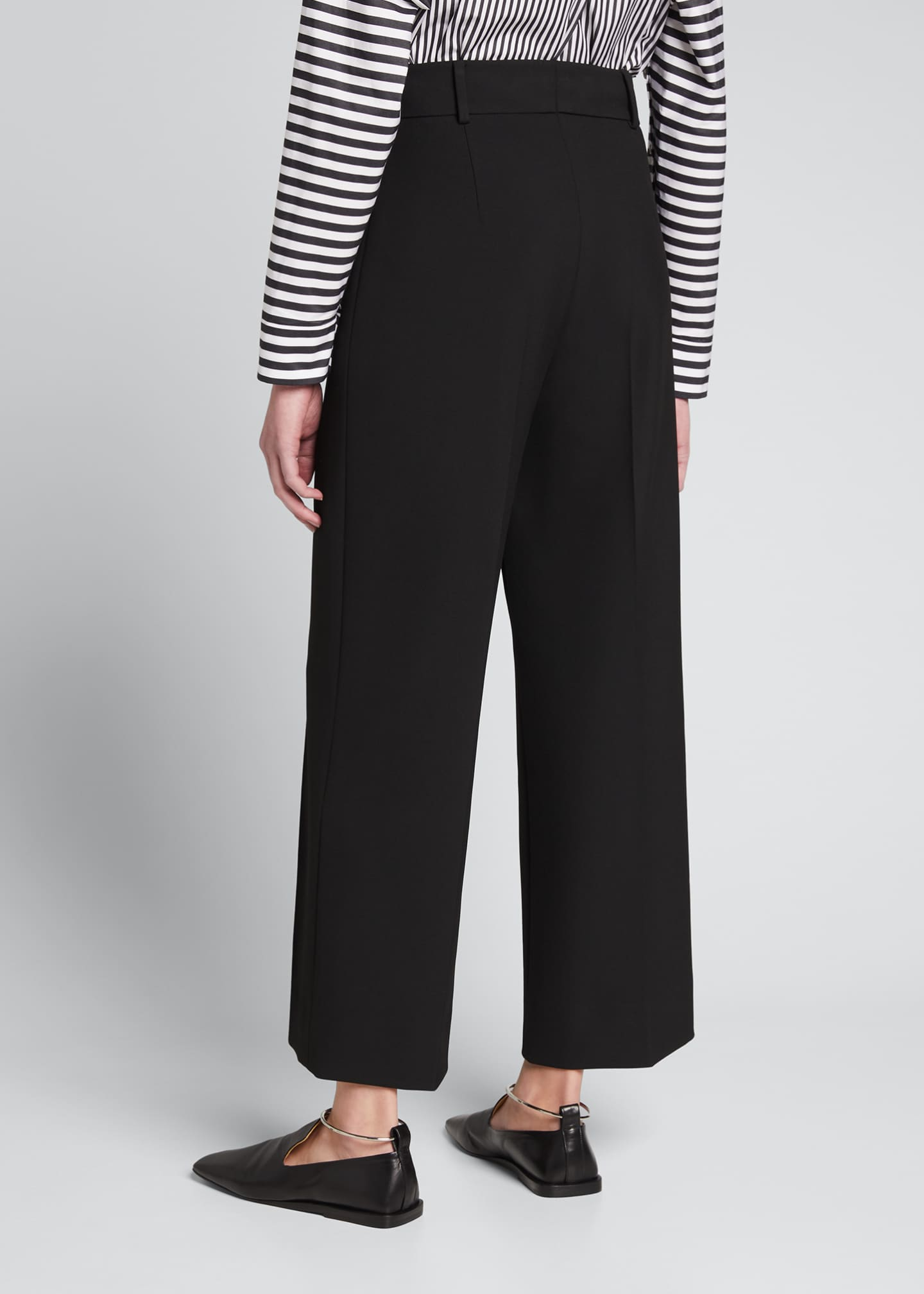 Image 2 of 2: Cropped Wide-Leg Stretch Crepe Pants with Piping