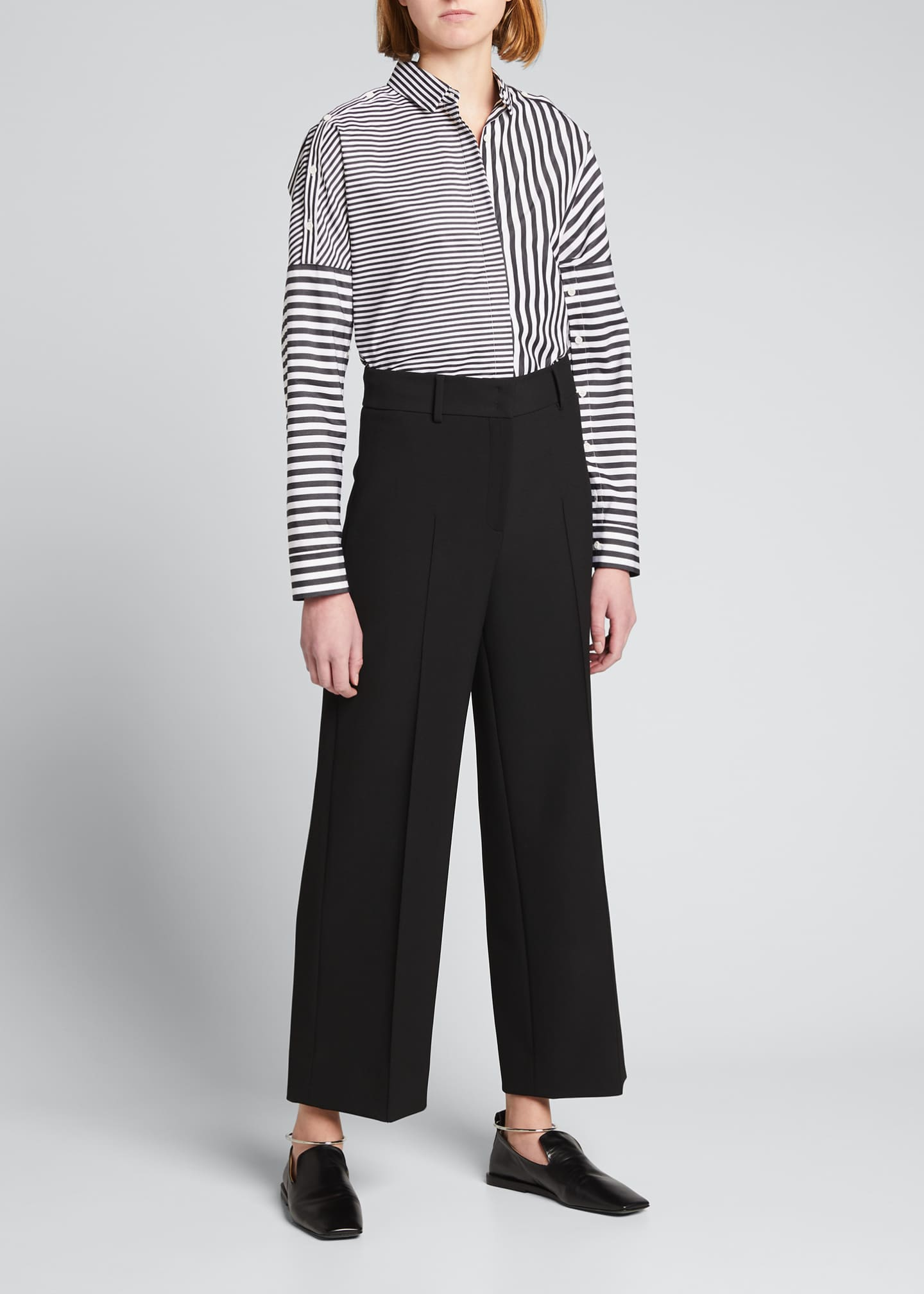 Image 1 of 2: Cropped Wide-Leg Stretch Crepe Pants with Piping