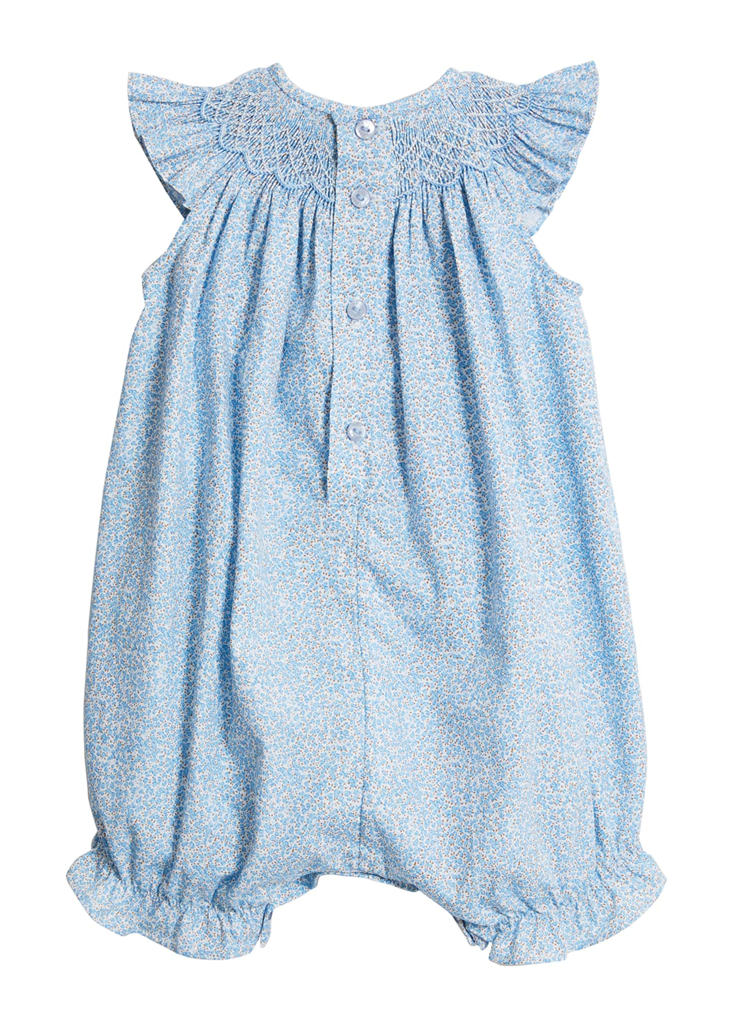 Image 2 of 2: Blue Floral Smocked Bubble Romper, Size 3-24 Months