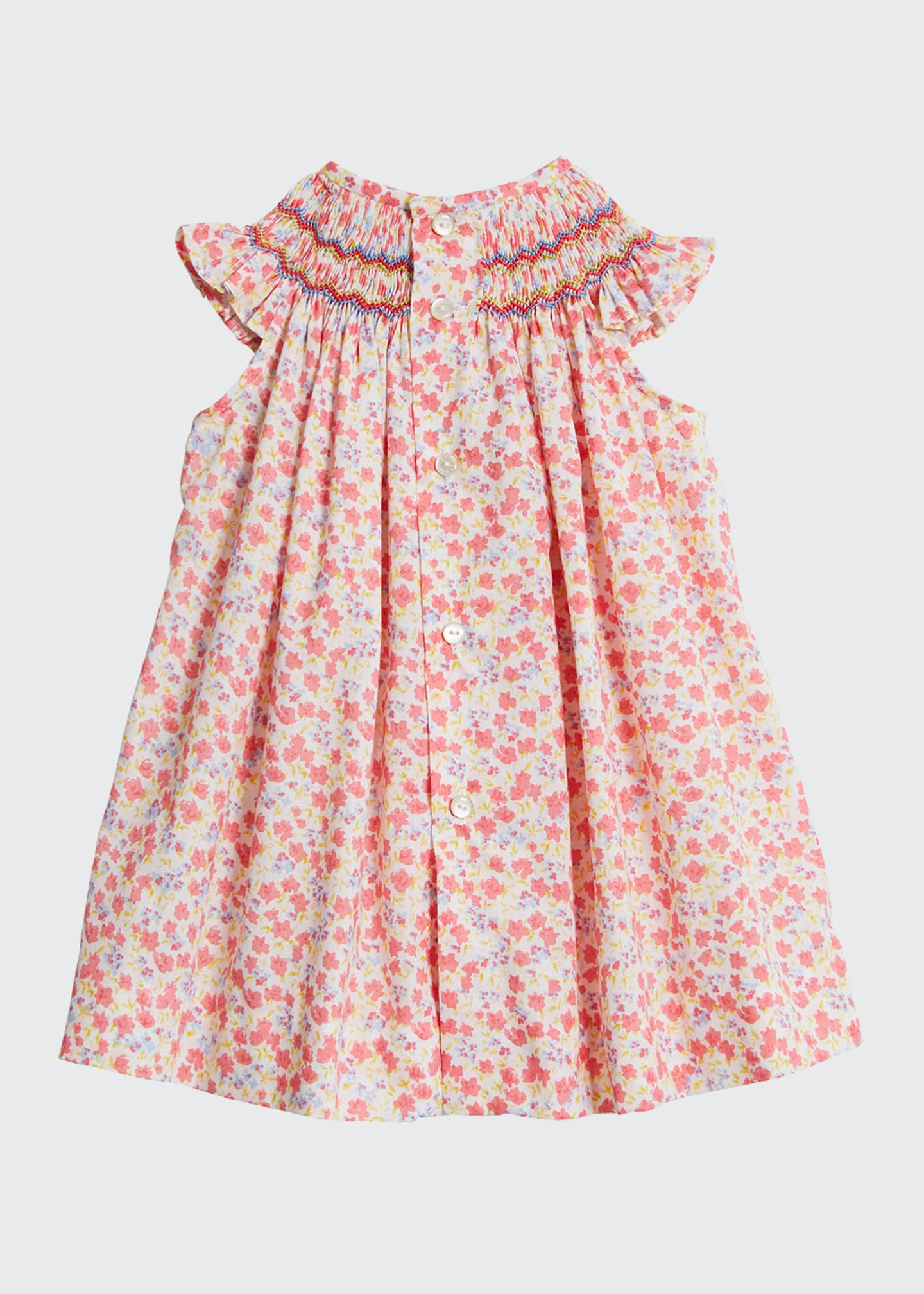 Image 2 of 2: Coral Bishop Floral-Print Dress w/ Solid Bloomers, Size 6-24 Months