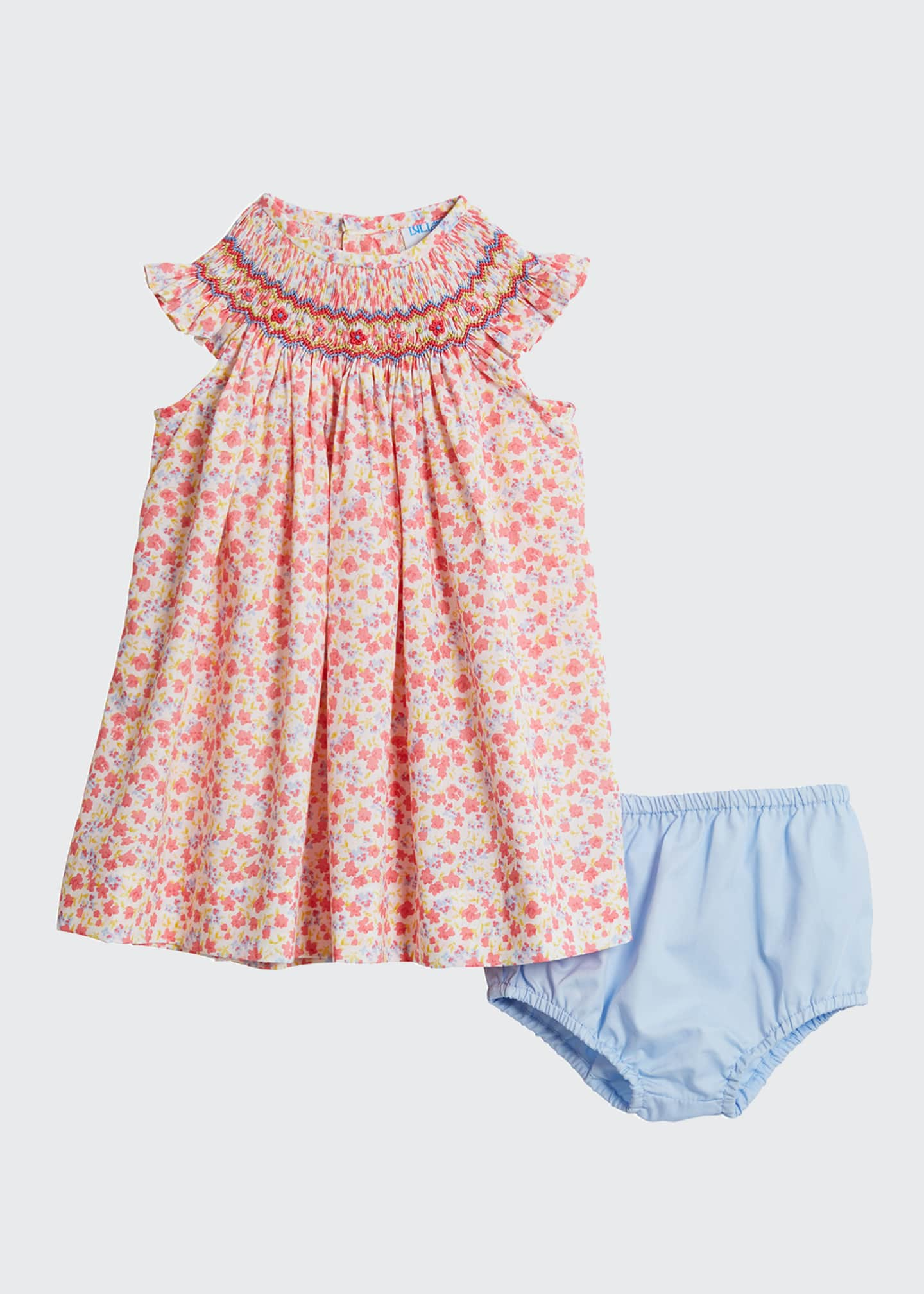 Image 1 of 2: Coral Bishop Floral-Print Dress w/ Solid Bloomers, Size 6-24 Months