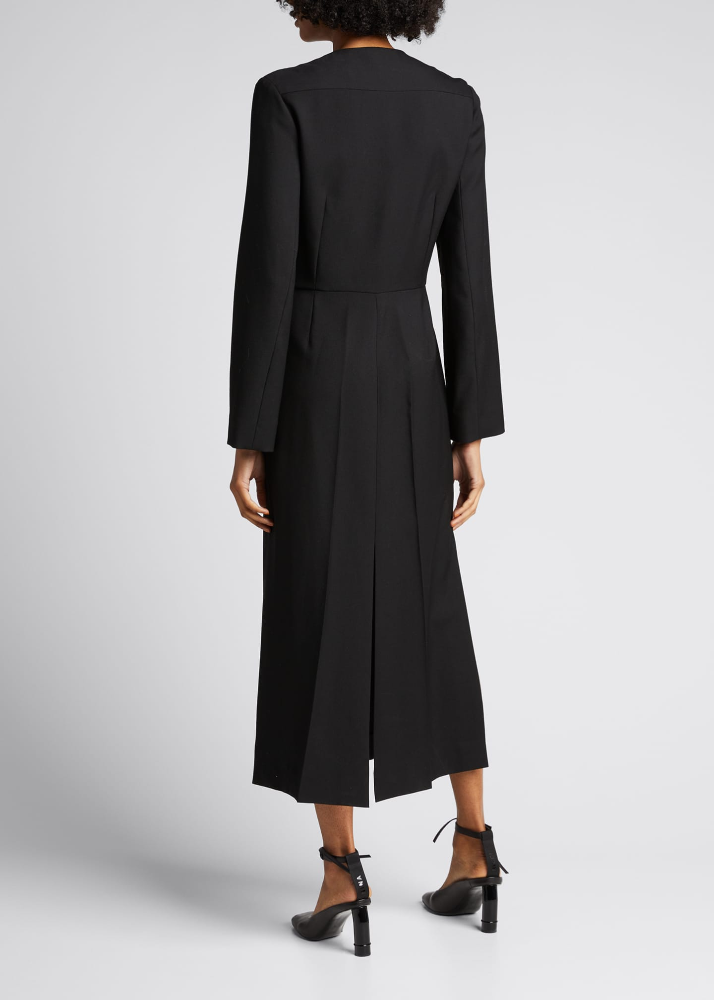 Image 2 of 5: Long Sleeve Seamed Wool Dress