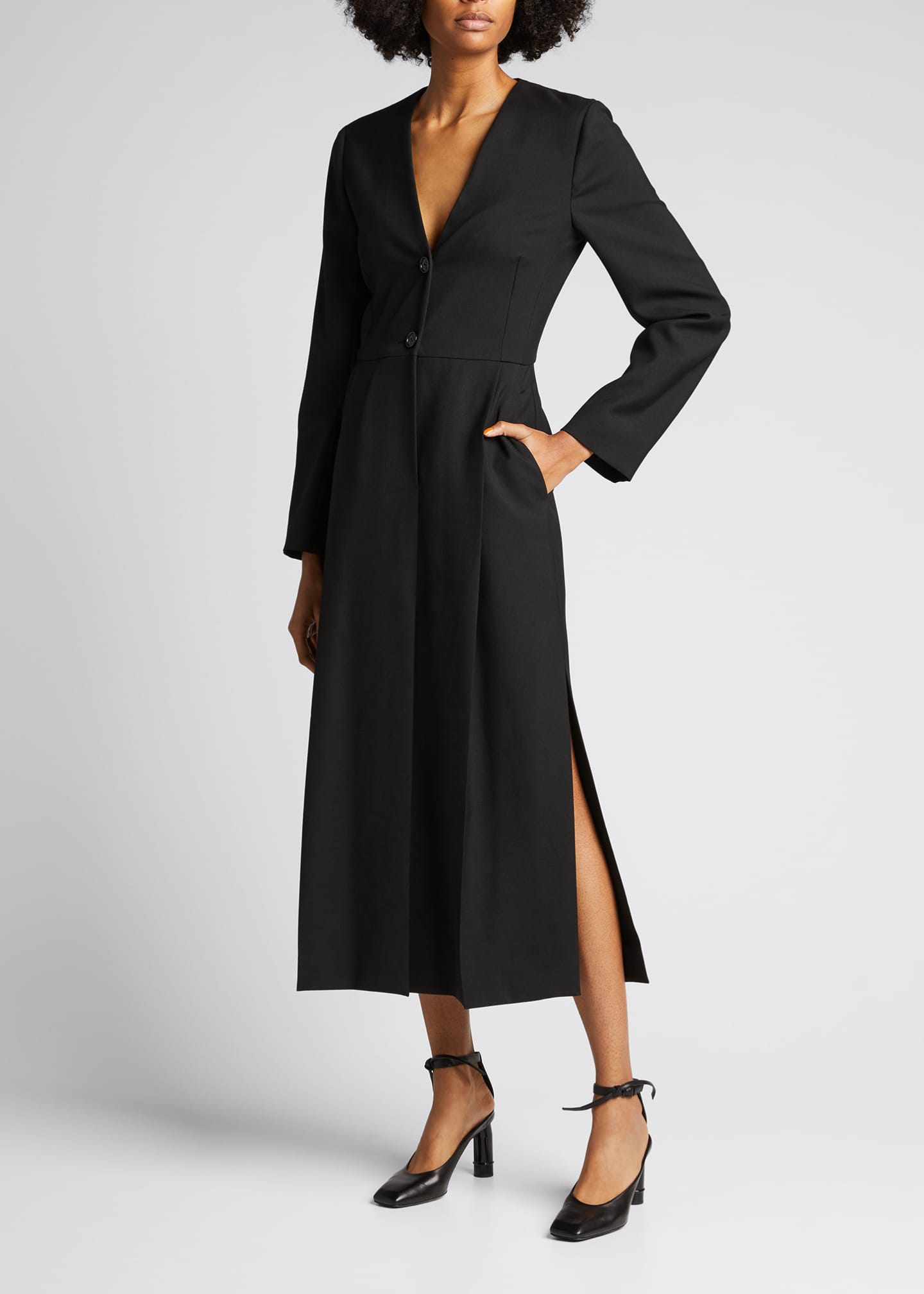 Image 3 of 5: Long Sleeve Seamed Wool Dress