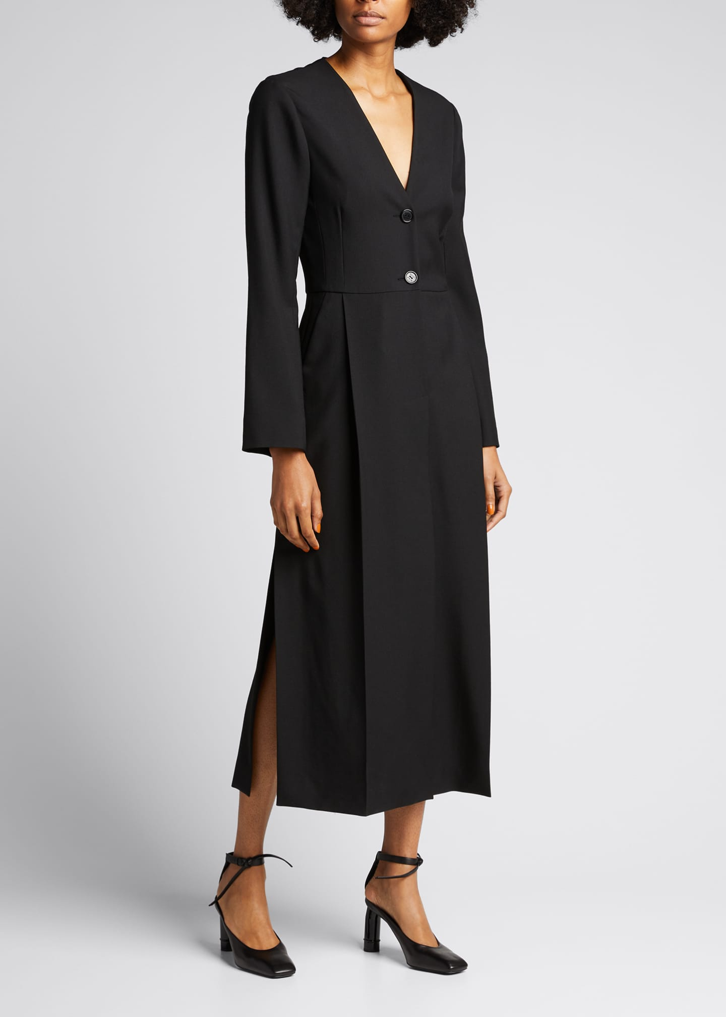 Image 1 of 5: Long Sleeve Seamed Wool Dress
