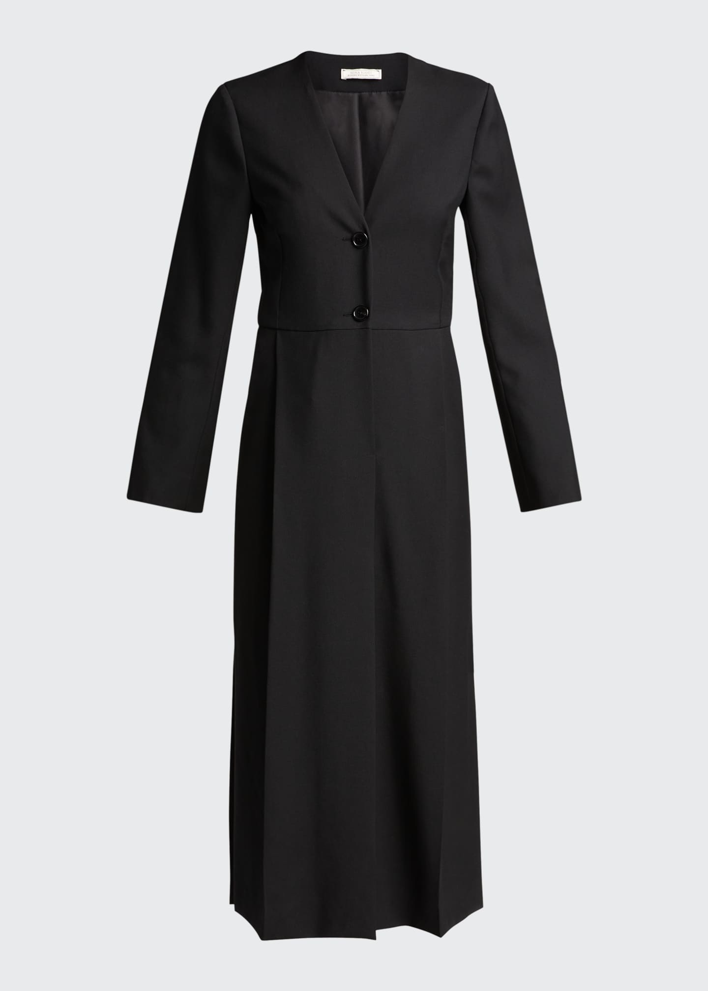 Image 5 of 5: Long Sleeve Seamed Wool Dress