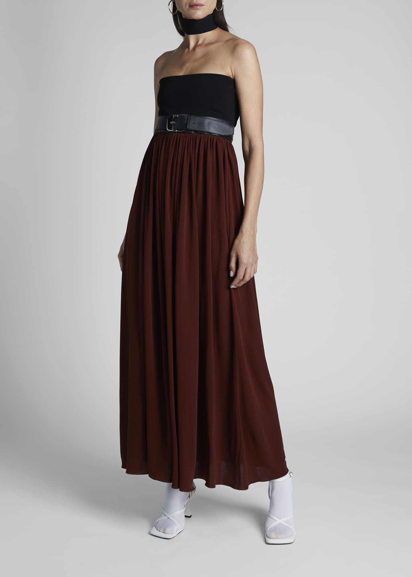 Image 1 of 2: Strapless Two-Tone Jersey Maxi Dress