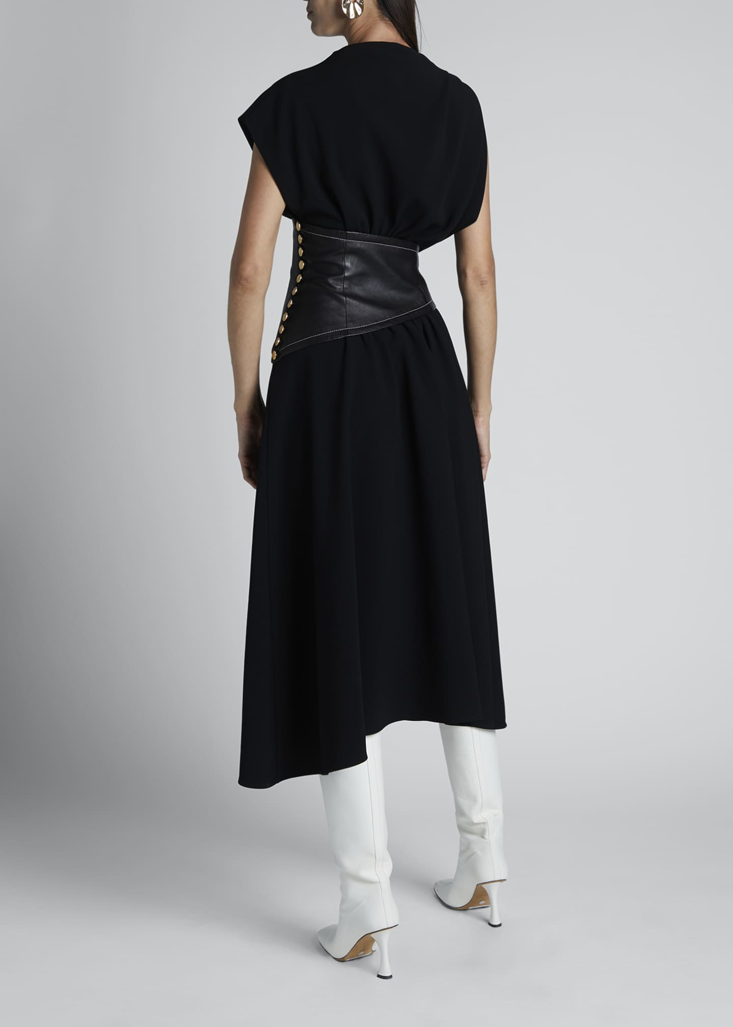 Image 2 of 3: Asymmetric Leather-Waist Dress