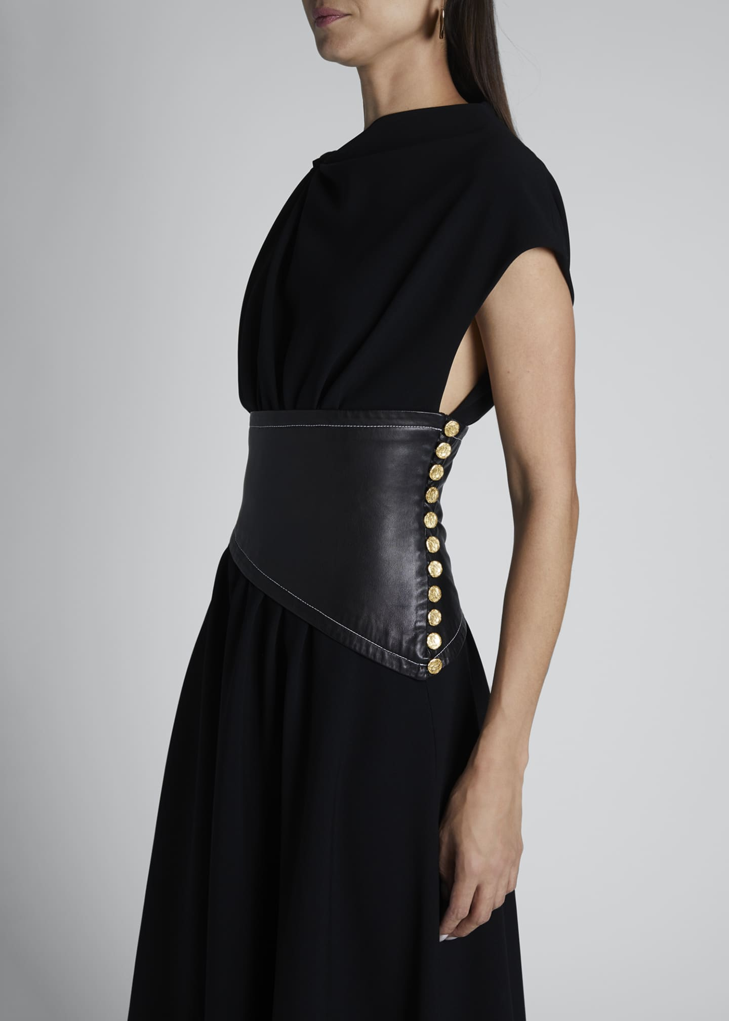 Image 3 of 3: Asymmetric Leather-Waist Dress