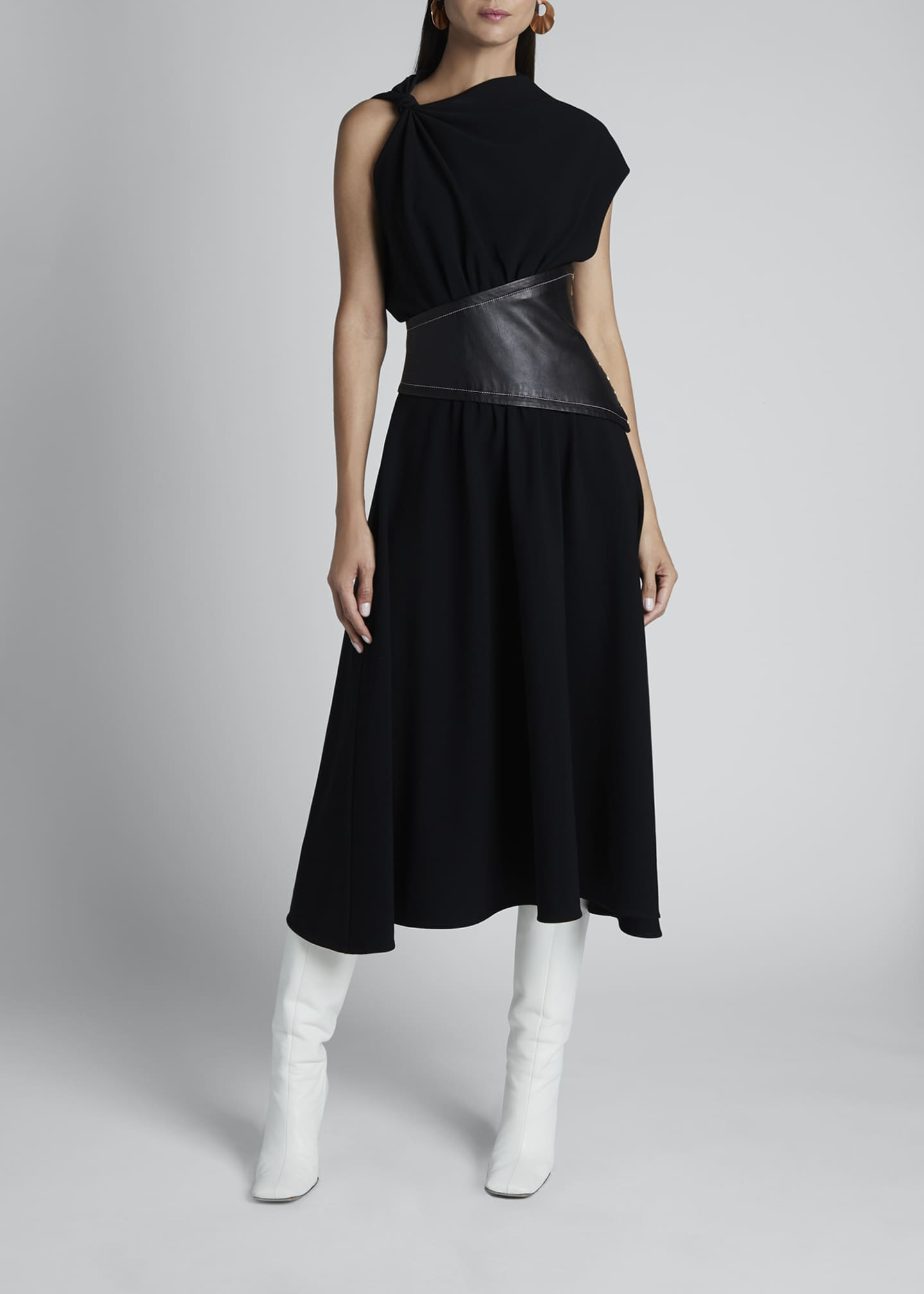 Image 1 of 3: Asymmetric Leather-Waist Dress