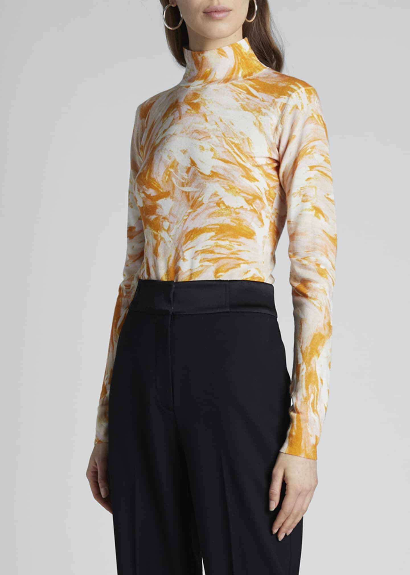 Image 3 of 4: Tie-Dye Print Turtleneck Sweater
