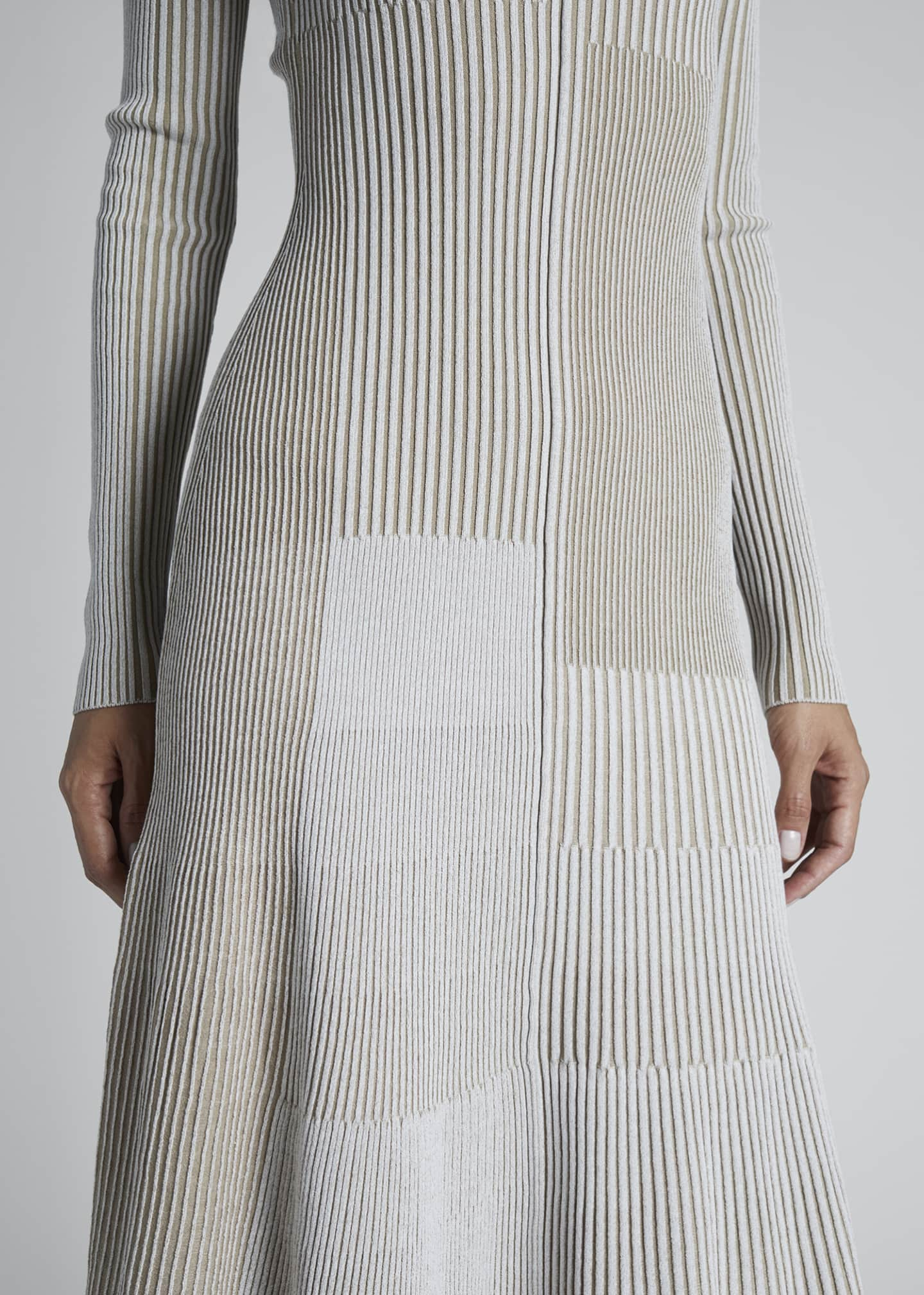 Image 3 of 3: Scoop-Neck Patchwork Sweaterdress