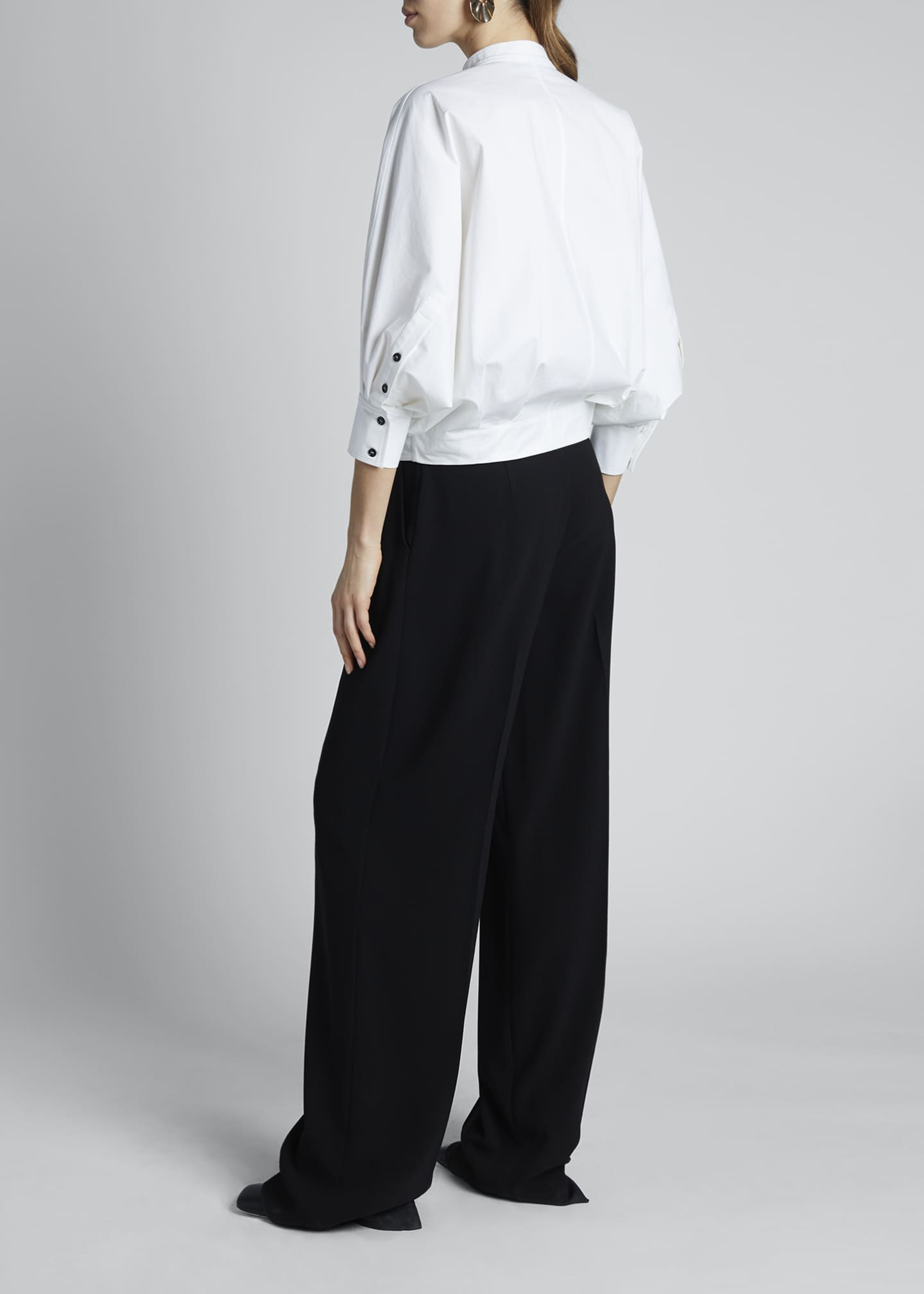 Image 2 of 3: 3/4-Sleeve Poplin Banded-Collar Blouse