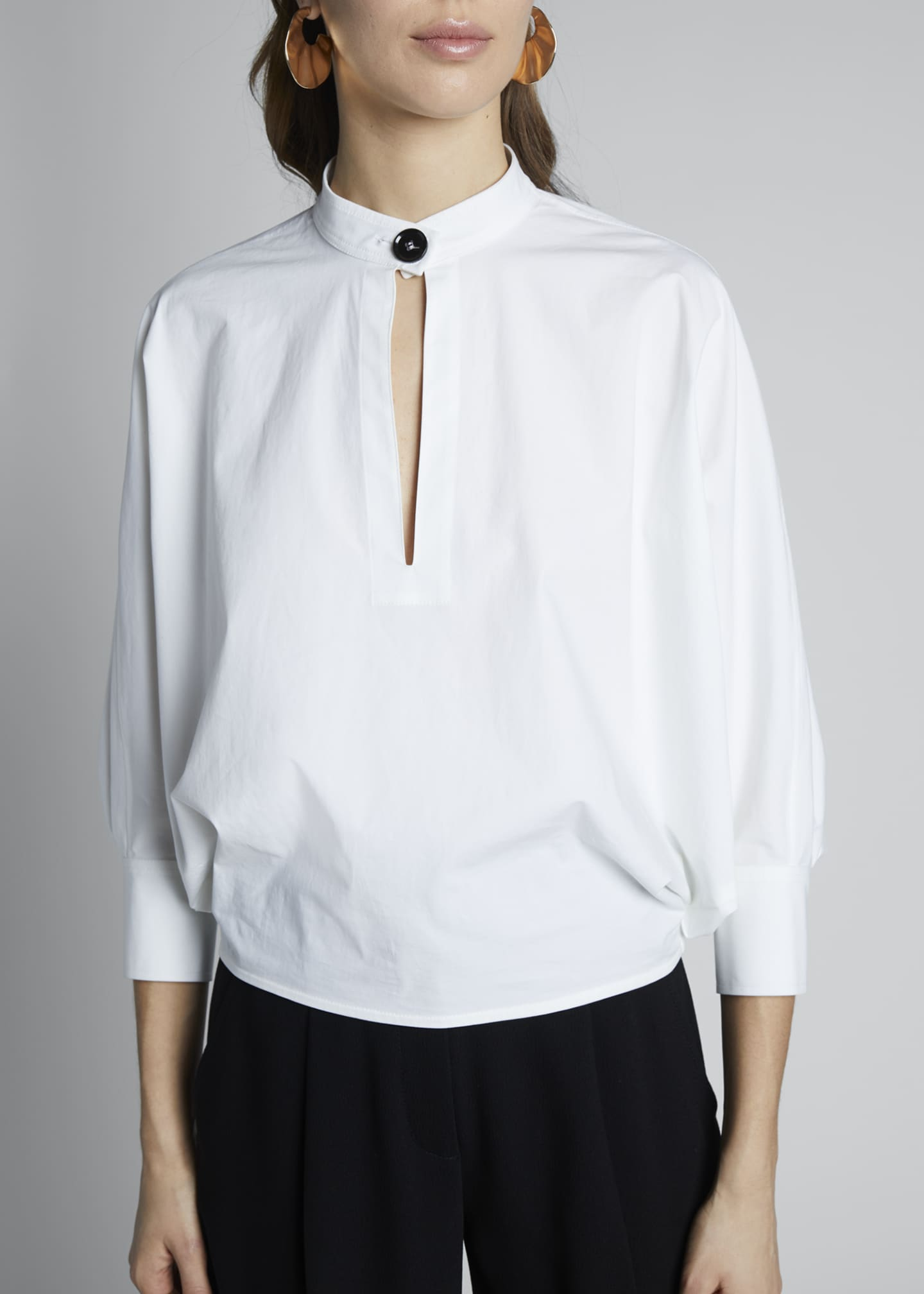 Image 3 of 3: 3/4-Sleeve Poplin Banded-Collar Blouse
