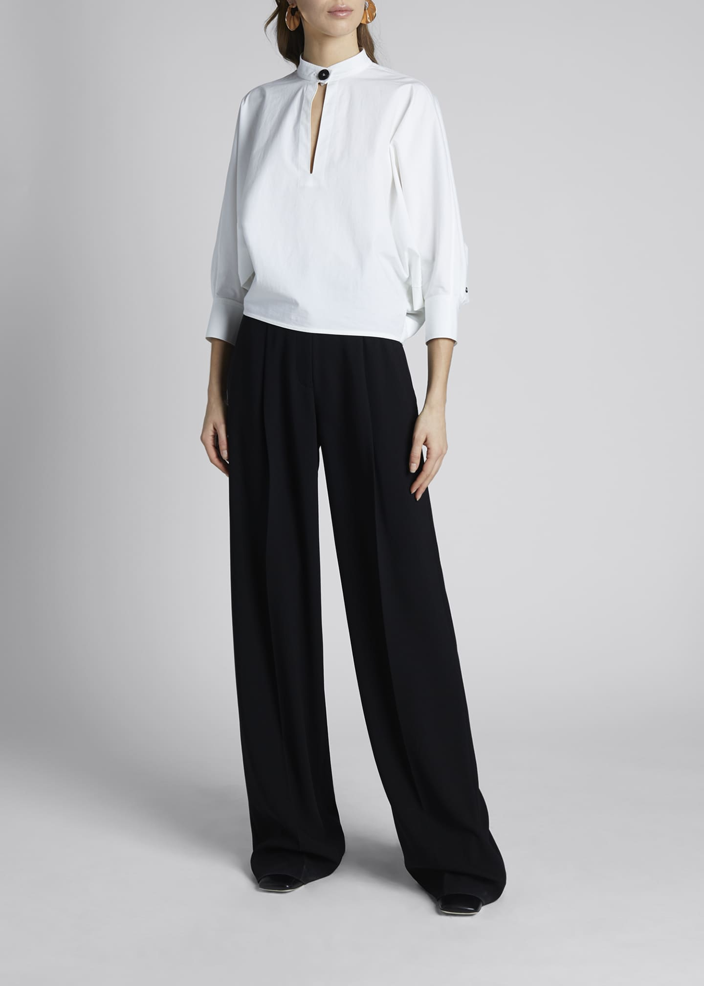 Image 1 of 3: 3/4-Sleeve Poplin Banded-Collar Blouse