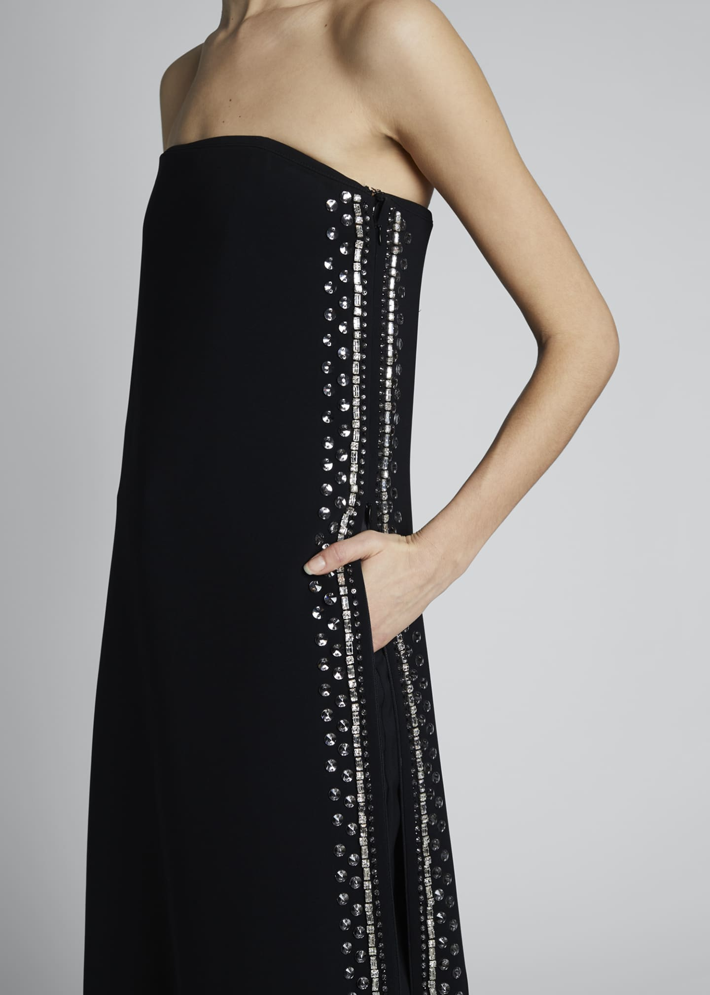 Image 3 of 3: Embroidered Strapless Dress