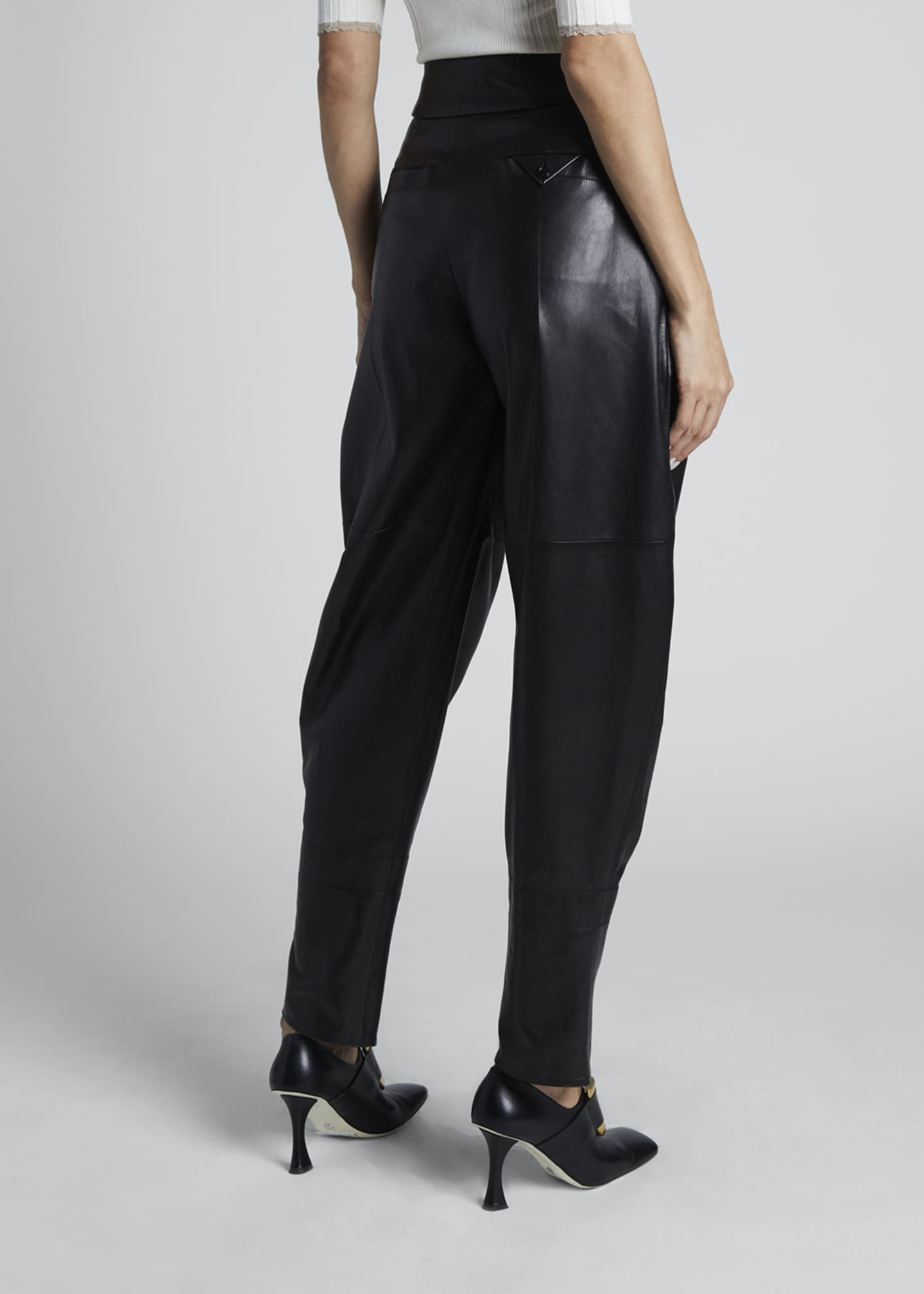 Image 2 of 3: Leather High-Rise Exaggerated Pants