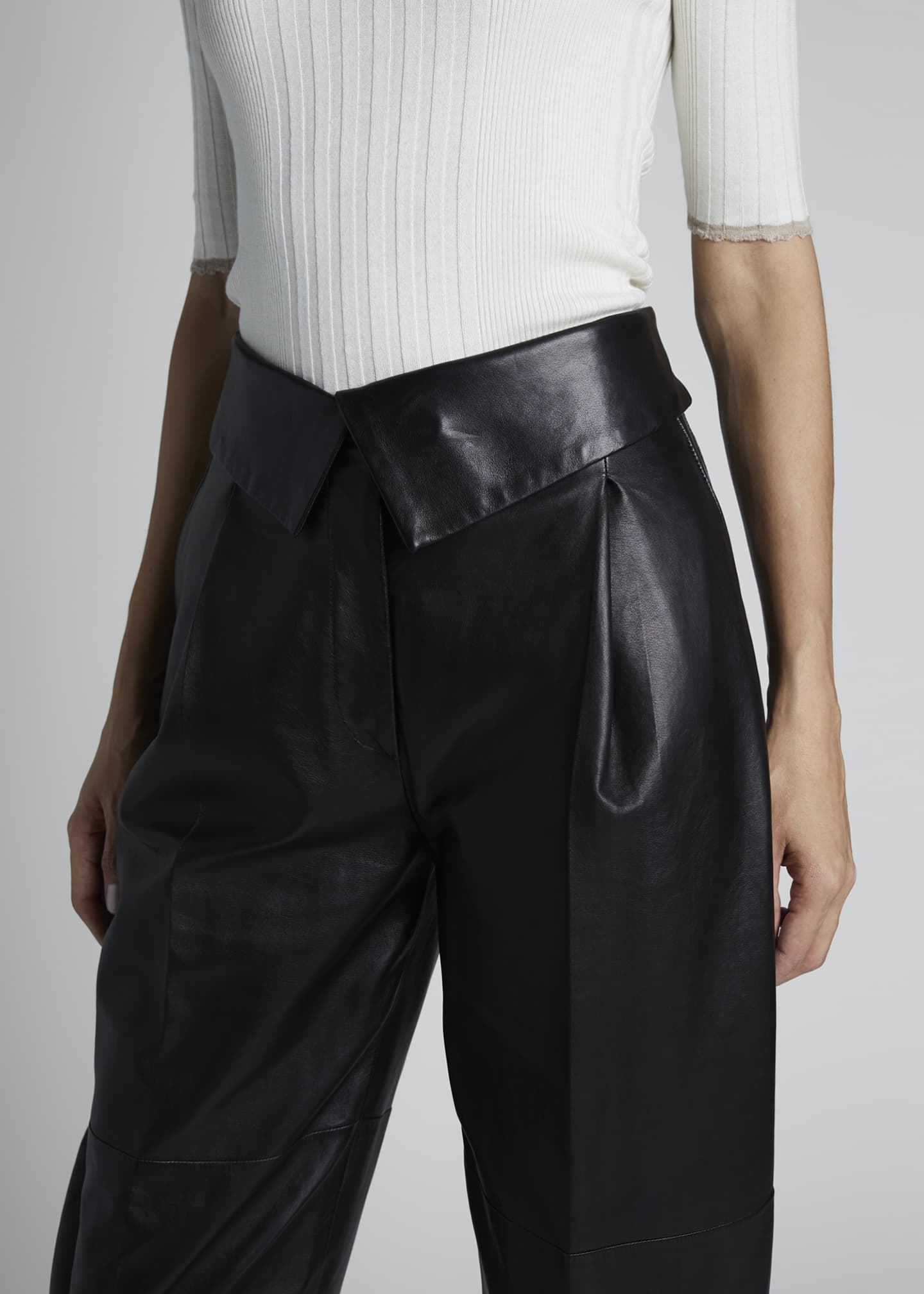 Image 3 of 3: Leather High-Rise Exaggerated Pants