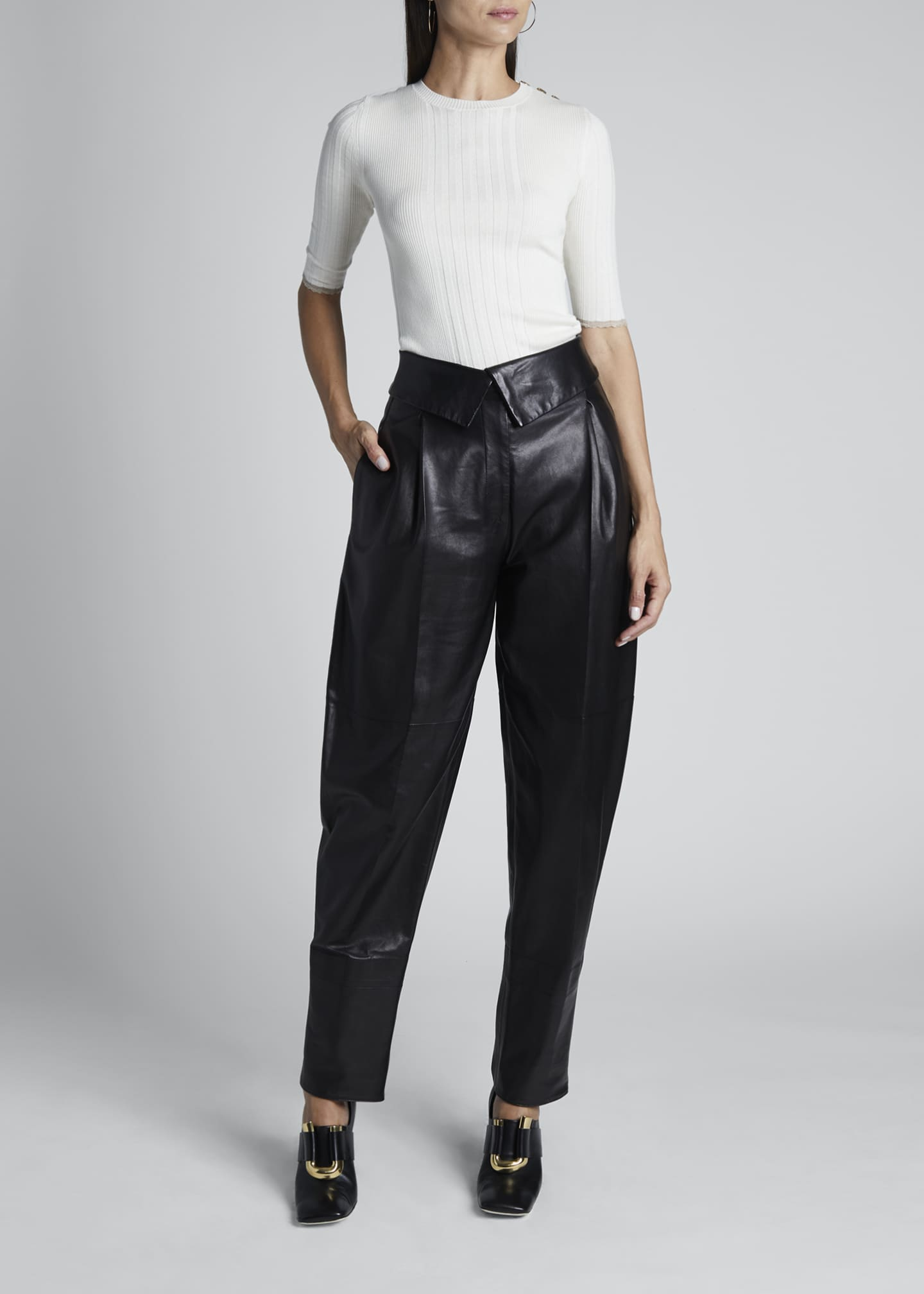Image 1 of 3: Leather High-Rise Exaggerated Pants