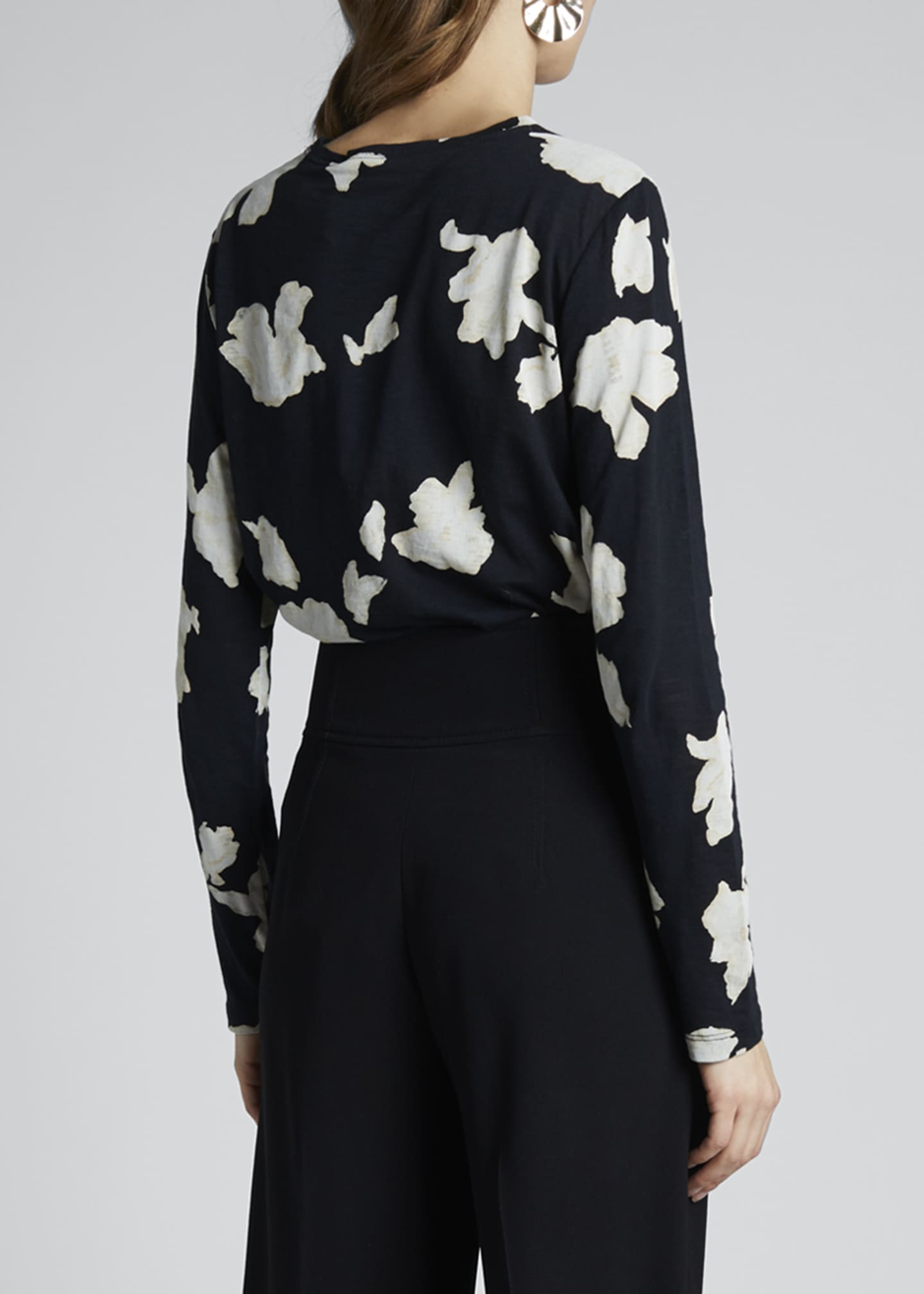 Image 2 of 3: Floral Print Jersey Long-Sleeve Tee