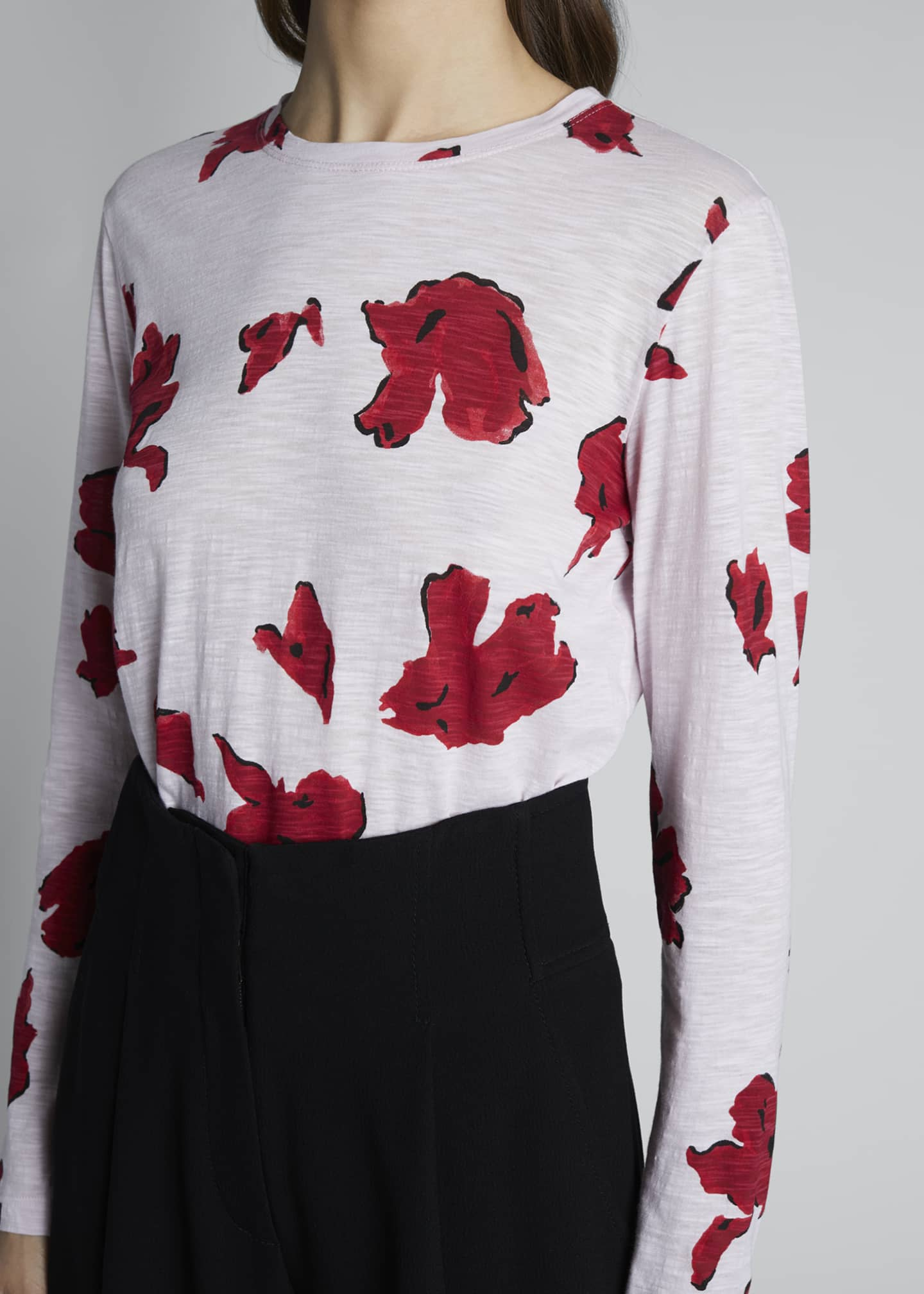 Image 3 of 3: Floral Print Jersey Long-Sleeve Tee