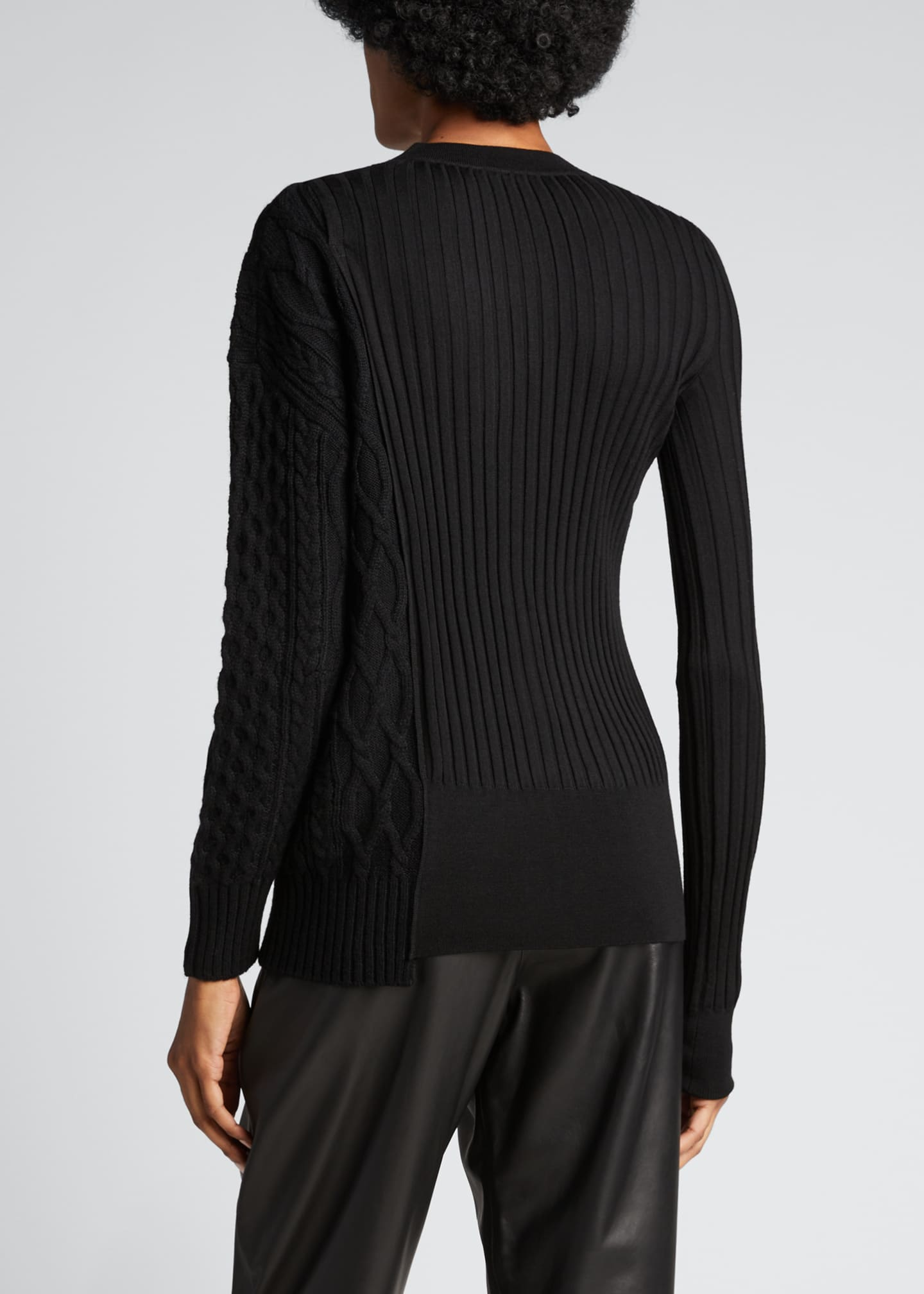 Image 2 of 5: Cutout Cable-Knit Combo Wool Sweater