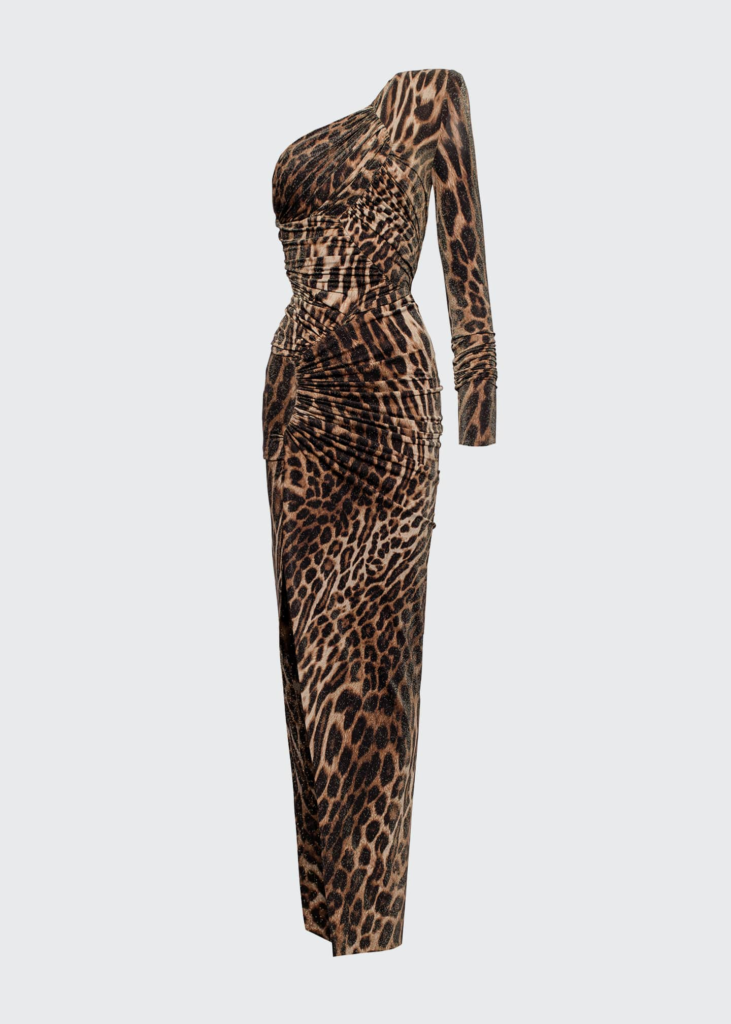 Image 1 of 1: One-Shoulder Leopard-Print Gown
