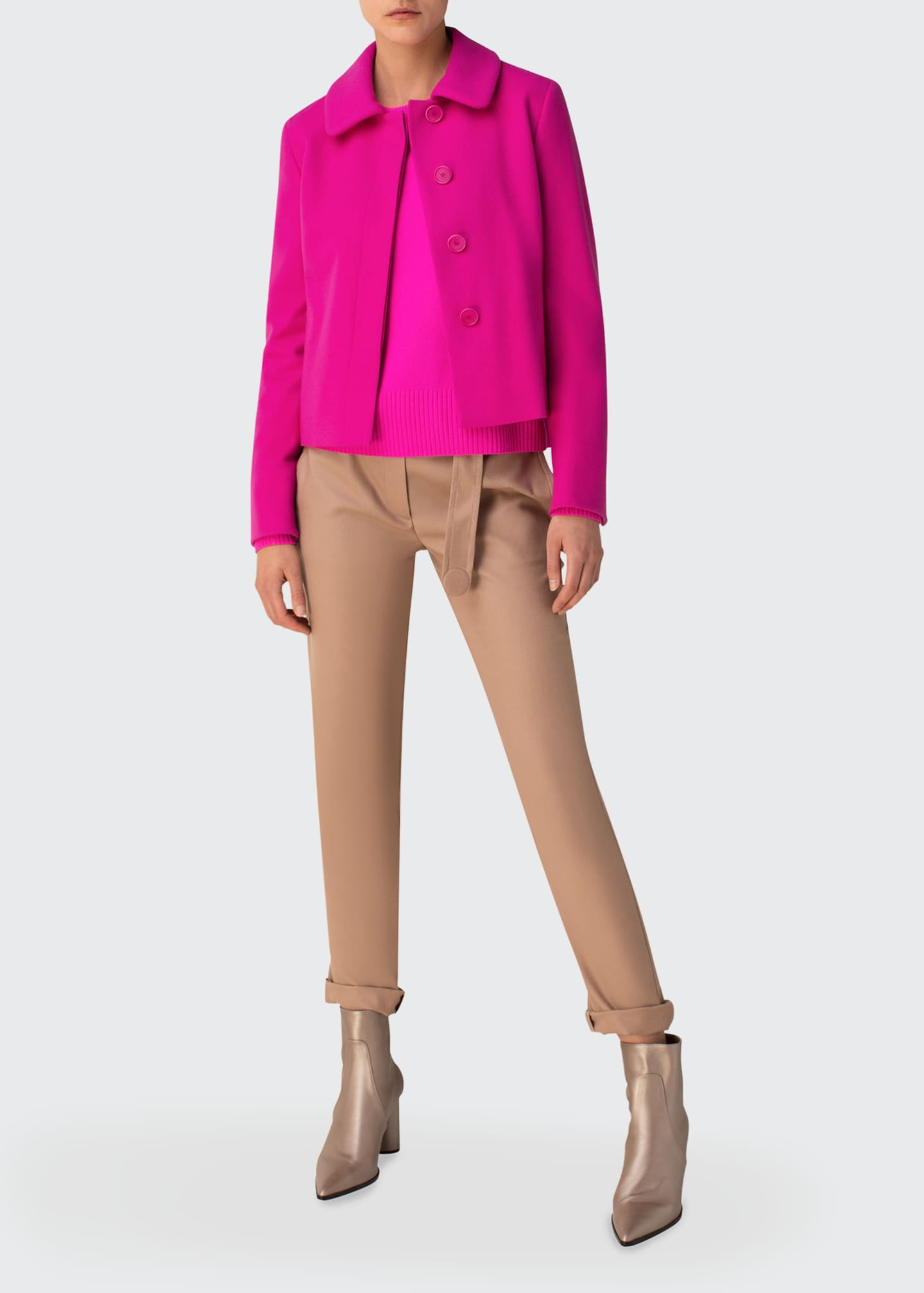 Image 1 of 2: Slim Peplum Wool-Cashmere Jacket