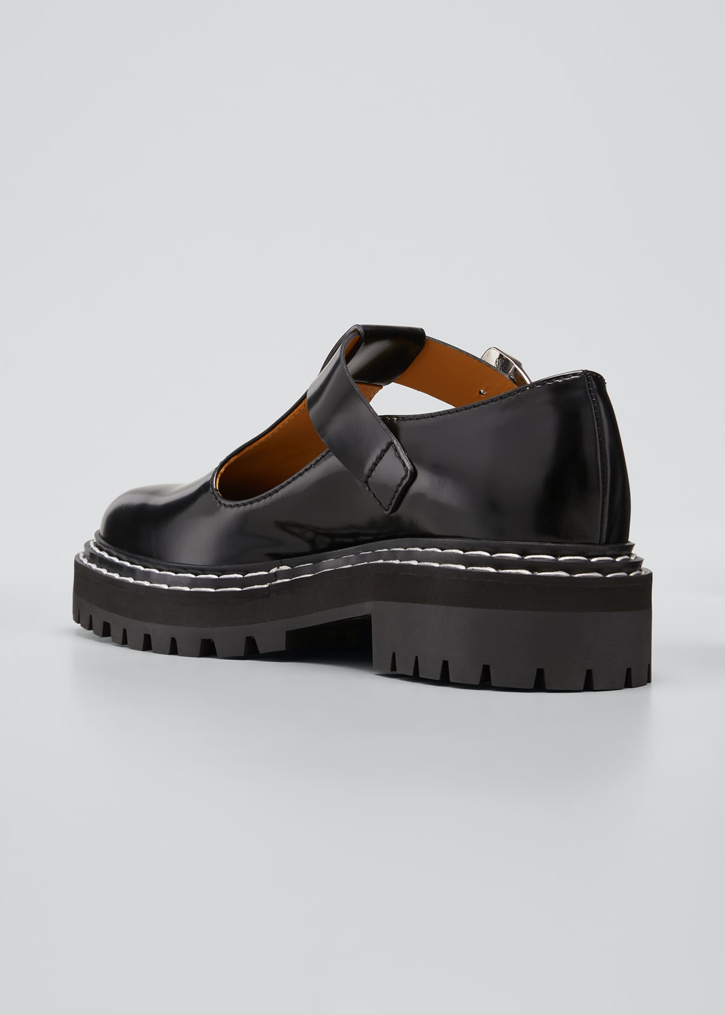 Image 4 of 5: Leather Mary Jane Buckle Loafers