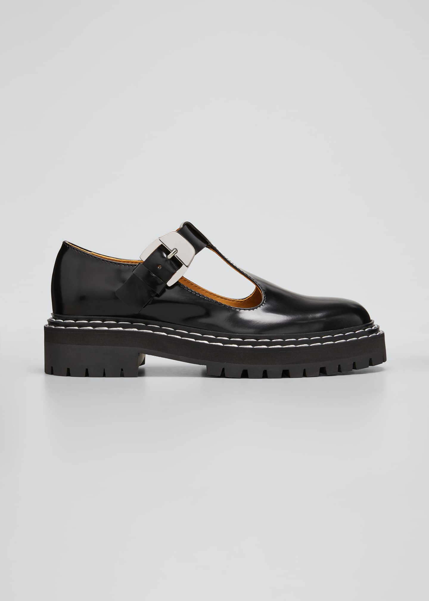 Leather Mary Jane Buckle Loafers