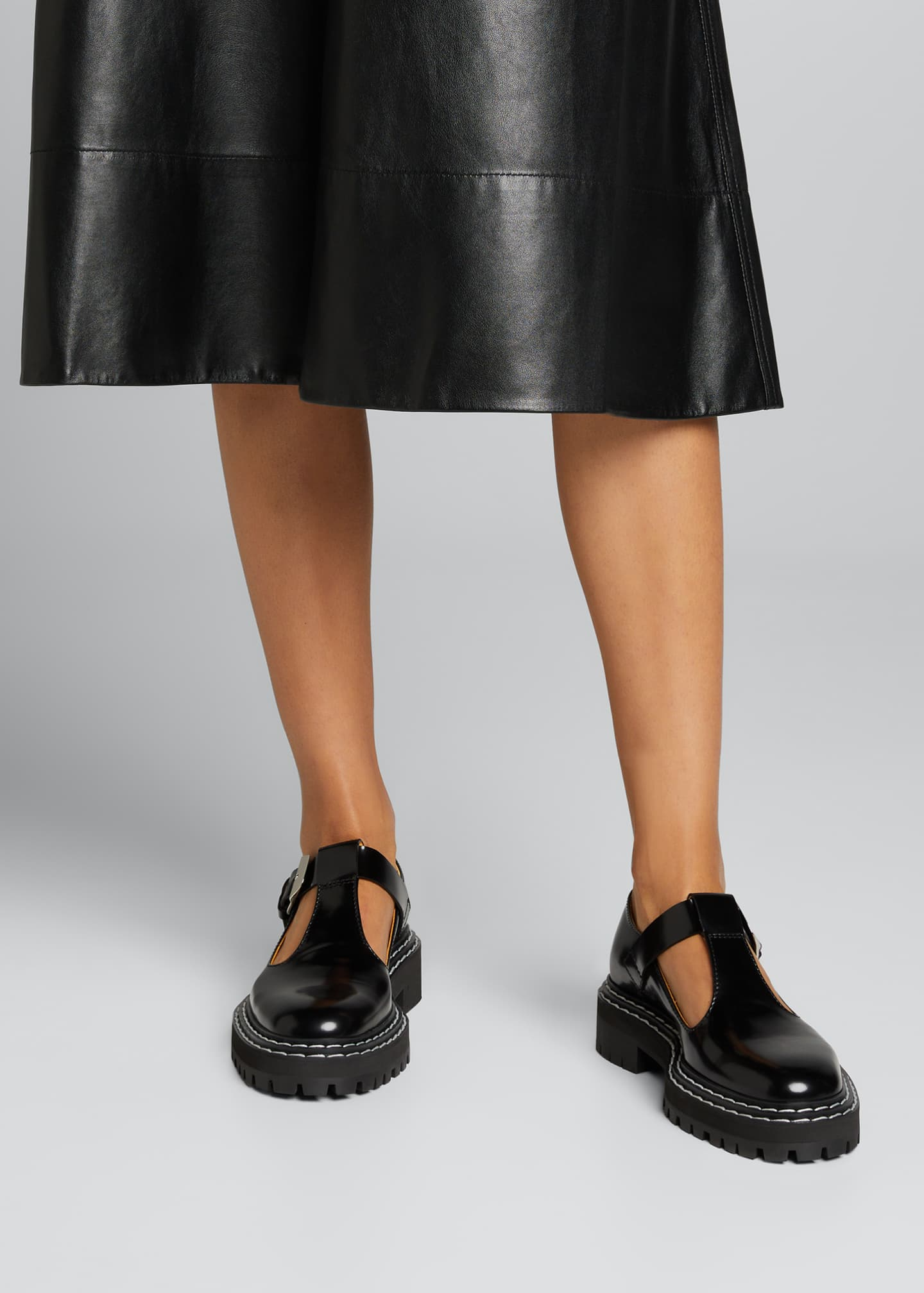 Image 2 of 5: Leather Mary Jane Buckle Loafers