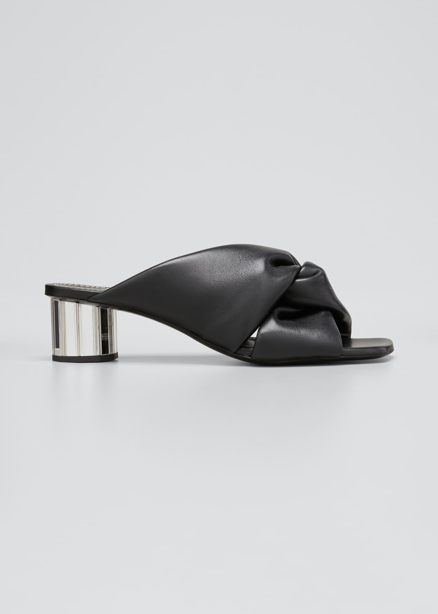 Image 1 of 3: Spectra 40mm Knotted Mirrored Block-Heel Mules