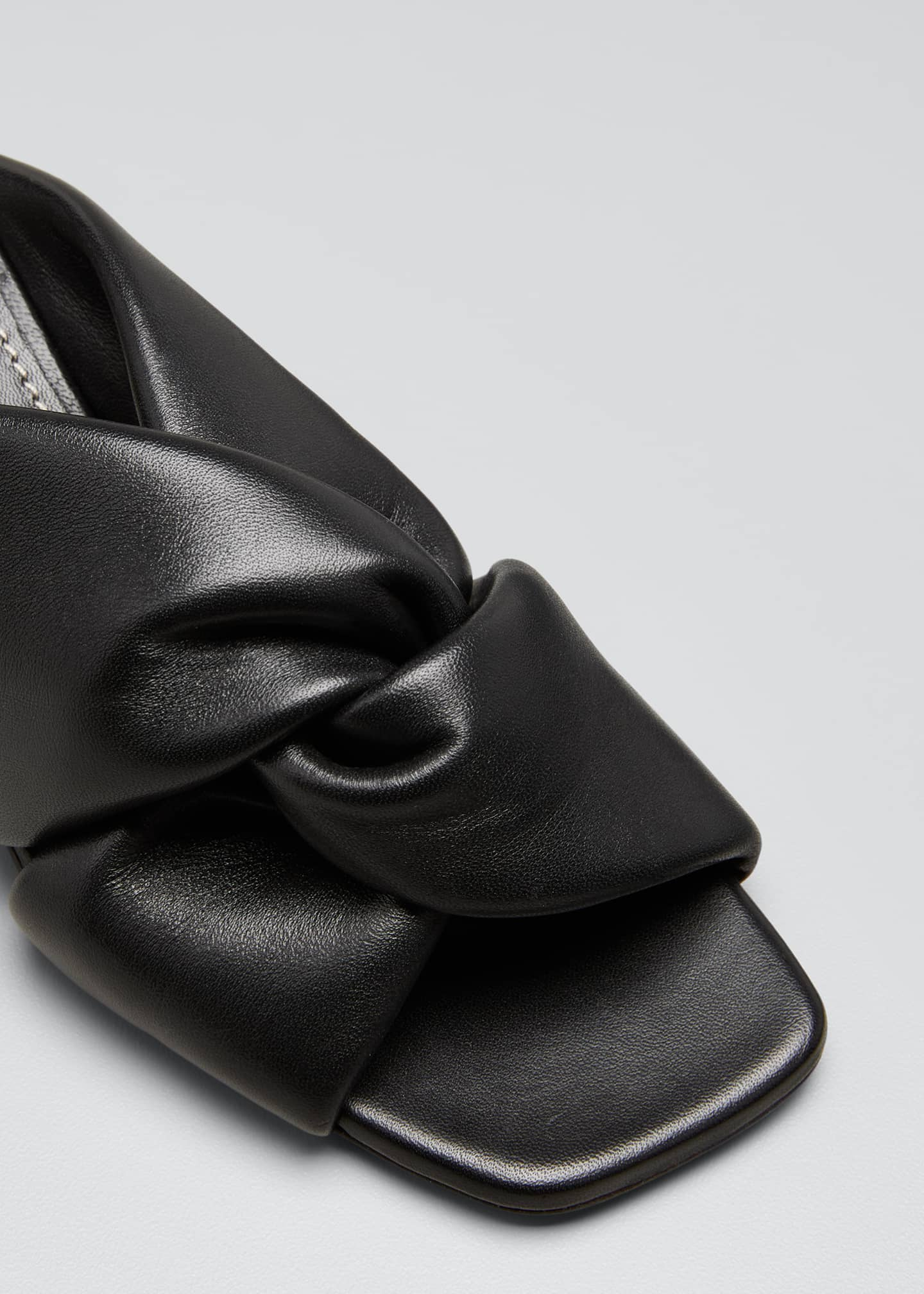 Image 3 of 3: Spectra 40mm Knotted Mirrored Block-Heel Mules