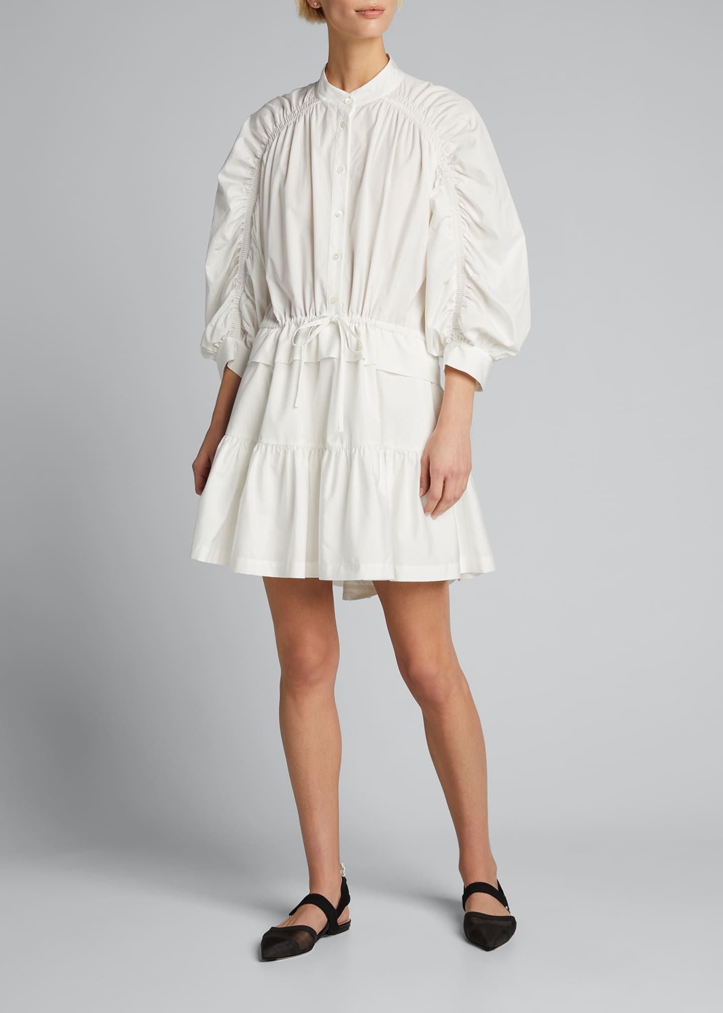 Image 3 of 5: Ruched 3/4-Sleeve Flounce Dress