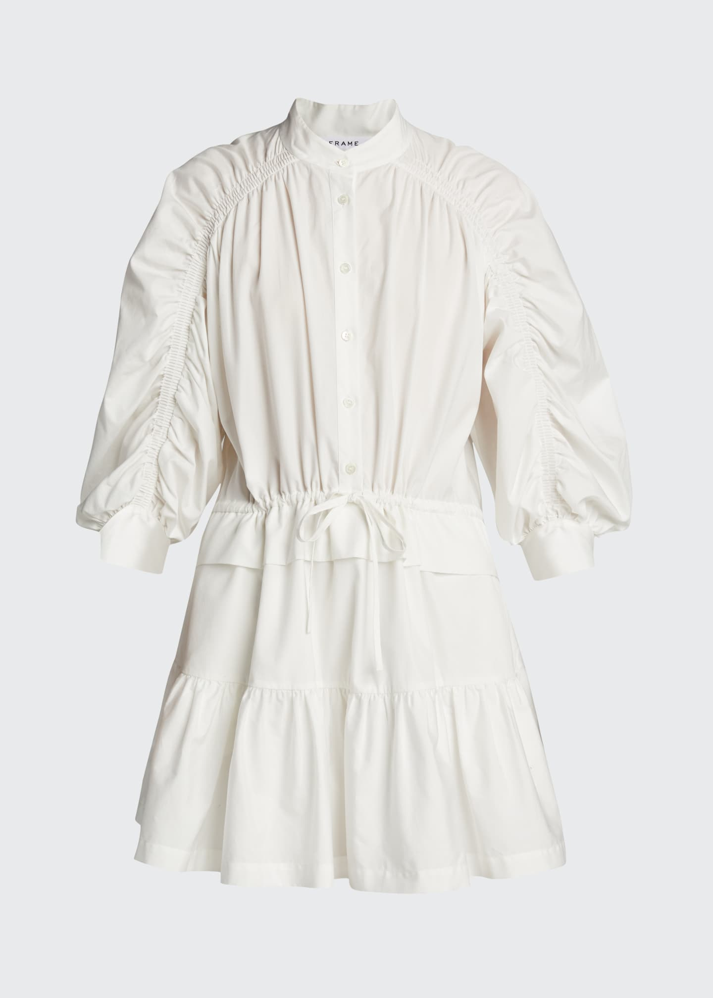 Image 5 of 5: Ruched 3/4-Sleeve Flounce Dress
