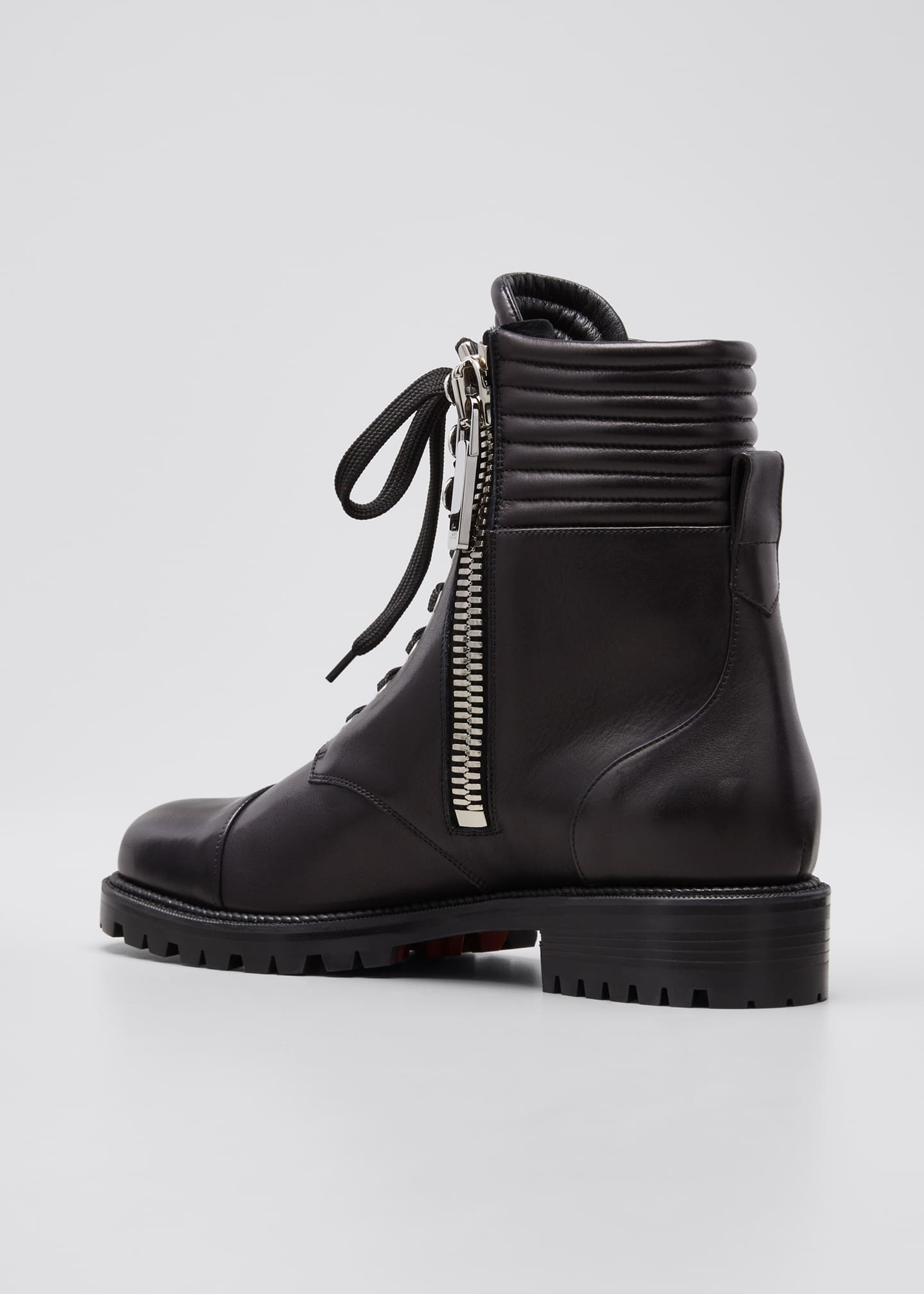 Image 4 of 5: Hiver Dual-Zip Red Sole Combat Booties