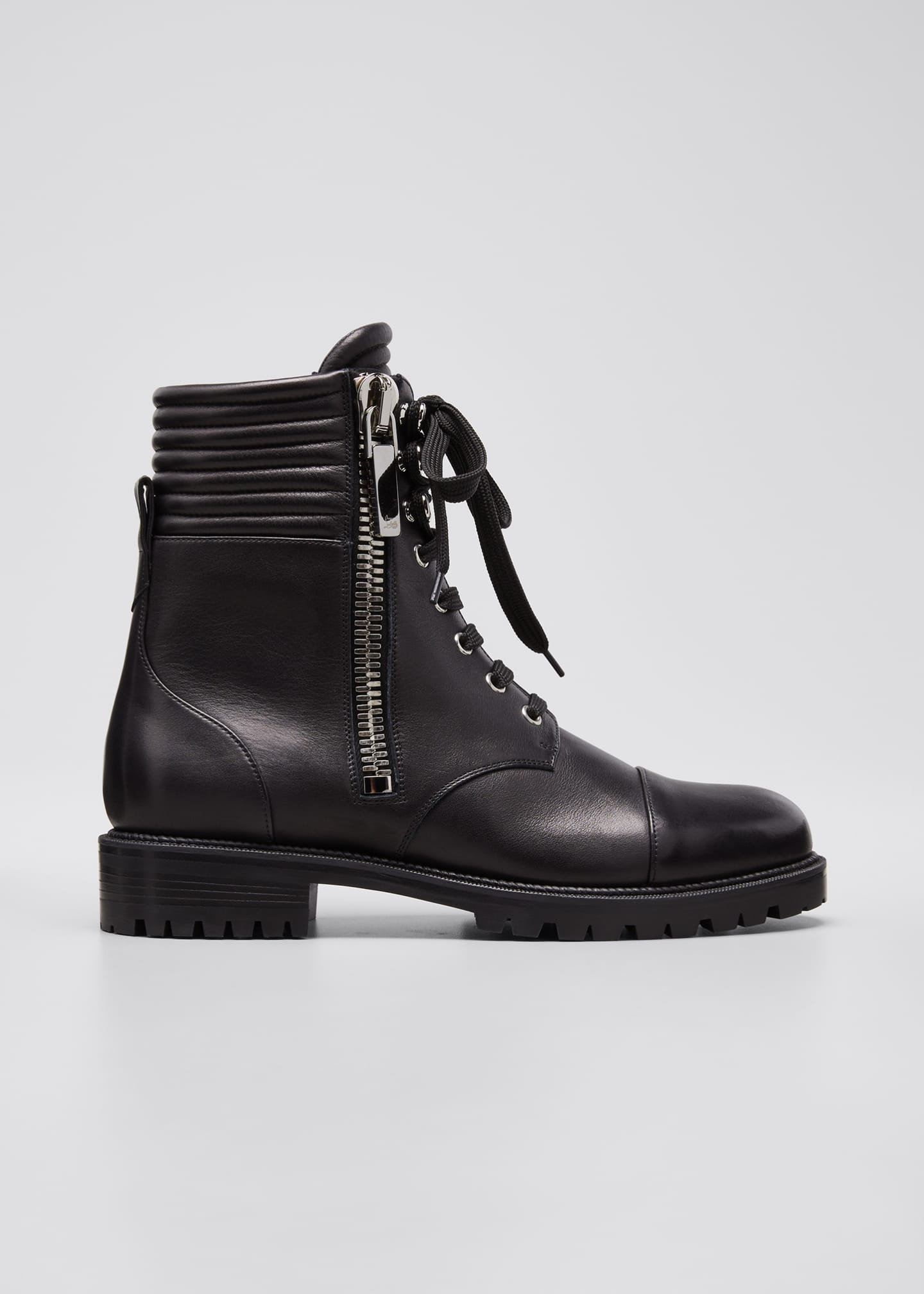 Image 1 of 5: Hiver Dual-Zip Red Sole Combat Booties