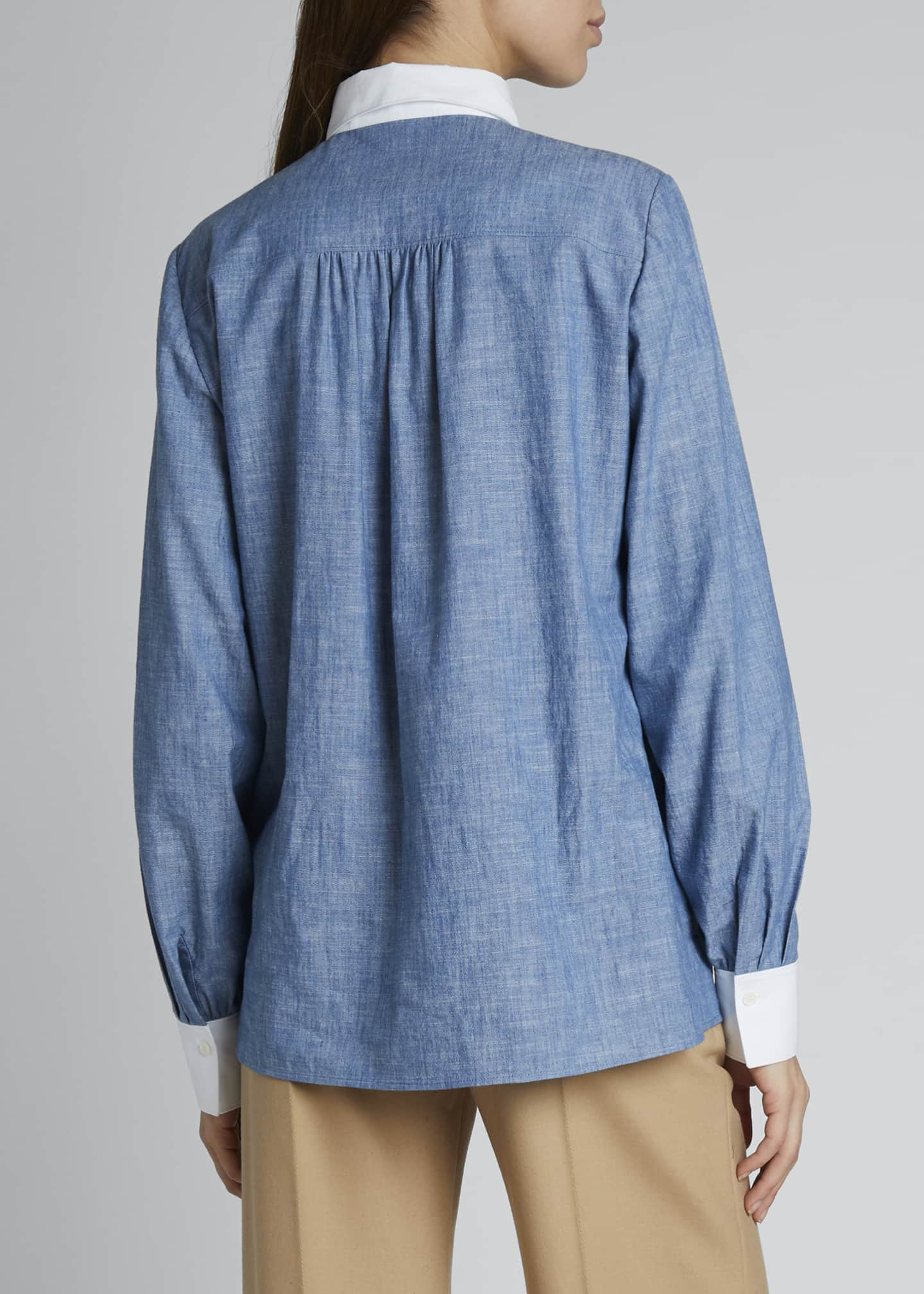 Image 2 of 3: Contrast-Trim Chambray Shirt