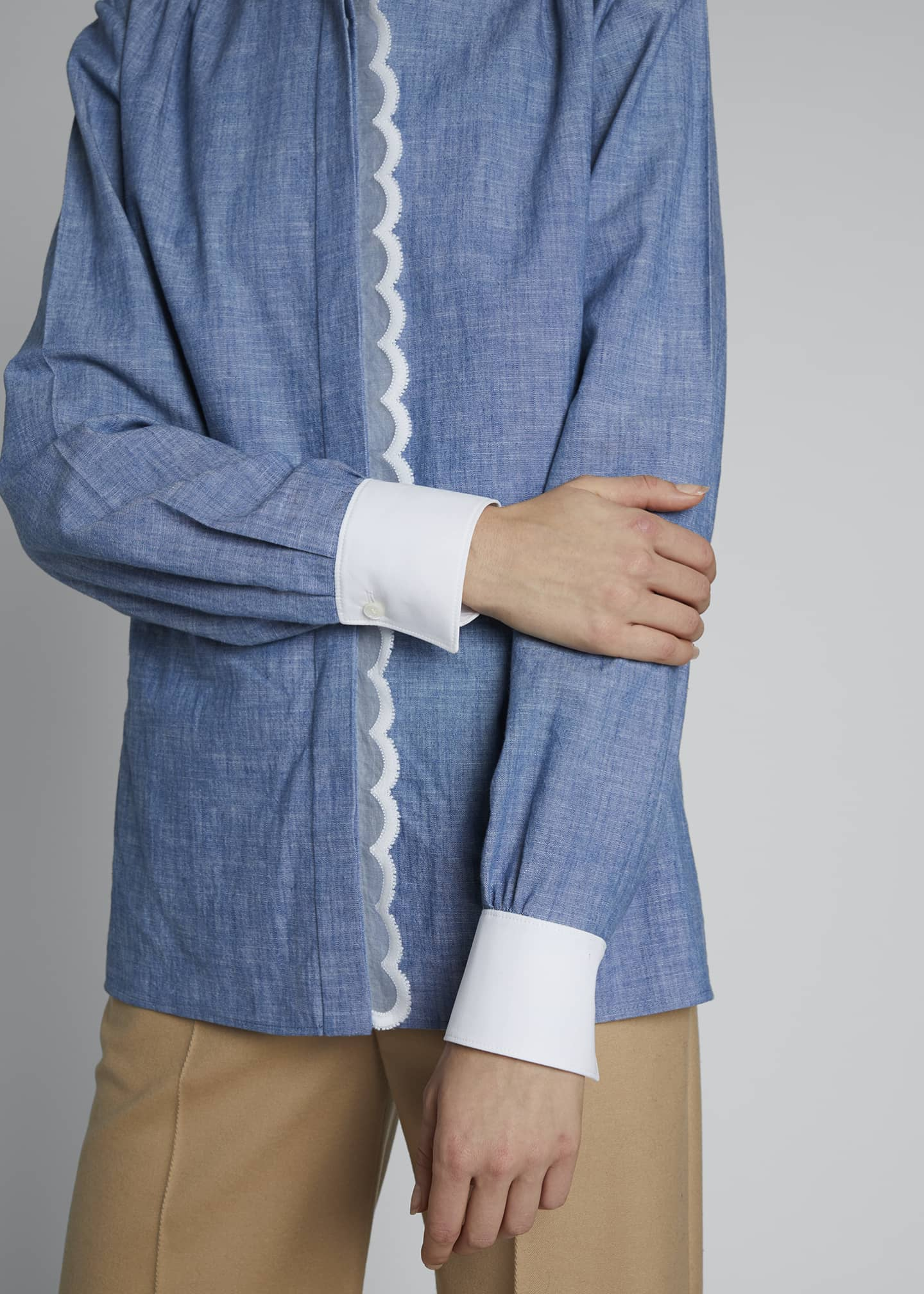 Image 3 of 3: Contrast-Trim Chambray Shirt