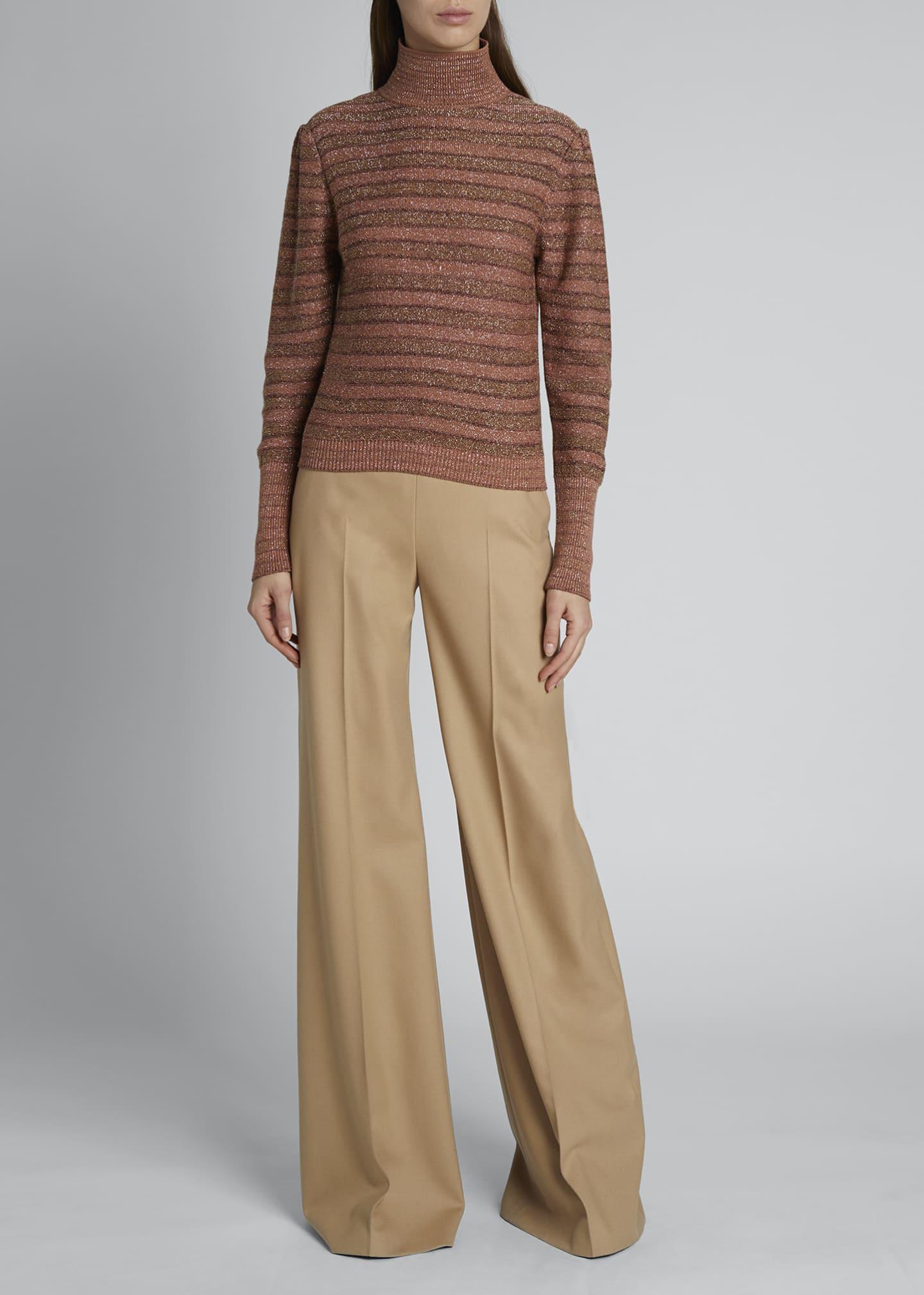 Image 1 of 3: Metallic Striped Knit Turtleneck Sweater