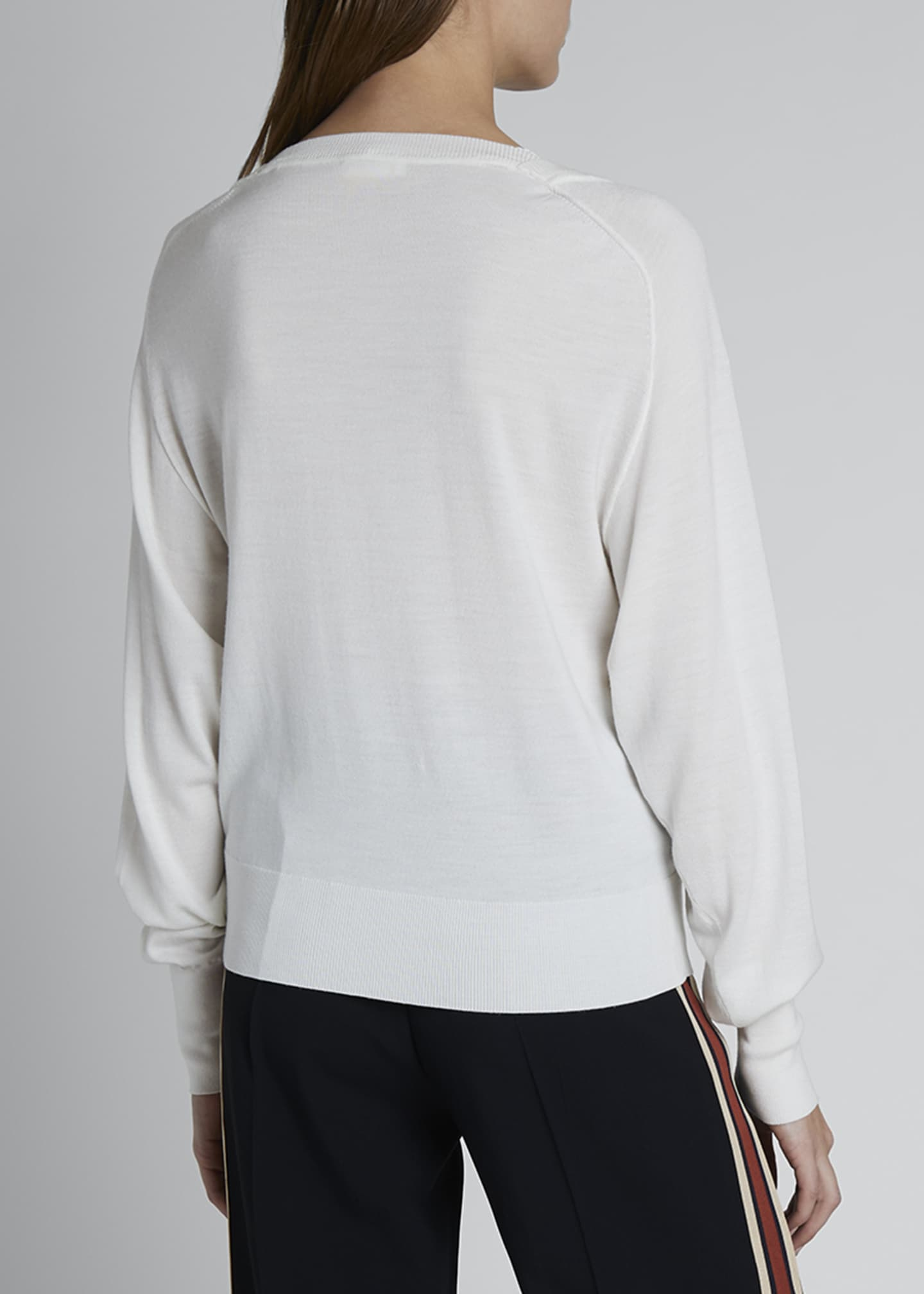 Image 2 of 3: Lace Silk-Wool V-Neck Sweater