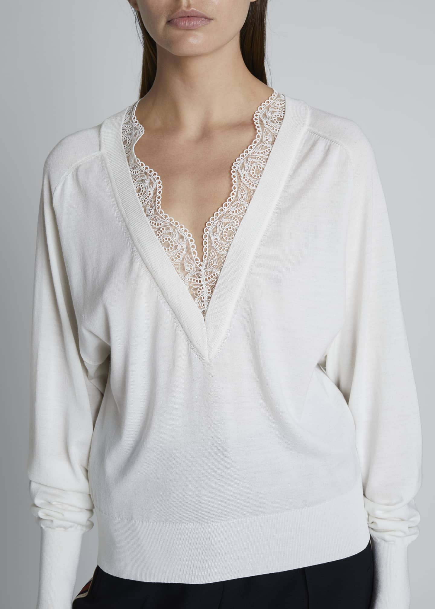 Image 3 of 3: Lace Silk-Wool V-Neck Sweater