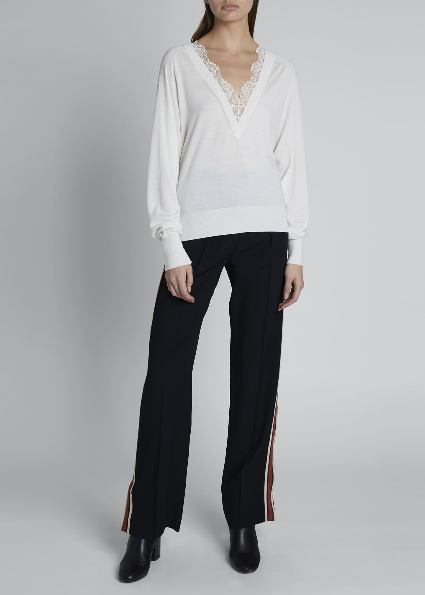Image 1 of 3: Lace Silk-Wool V-Neck Sweater