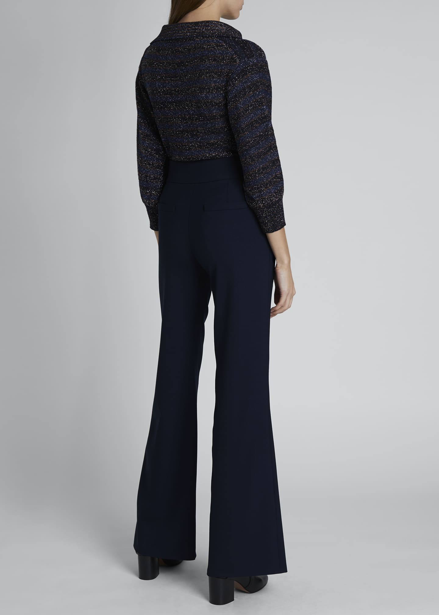 Image 2 of 3: High-Waist Flare Leg Sailor Trousers