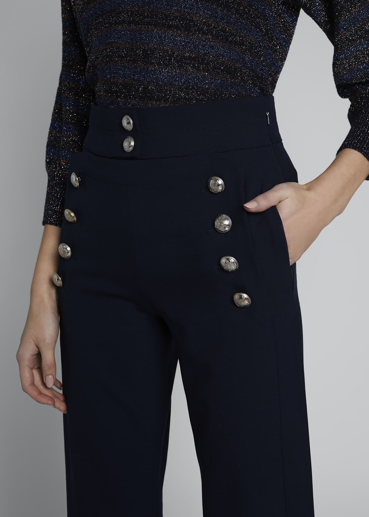 Image 3 of 3: High-Waist Flare Leg Sailor Trousers
