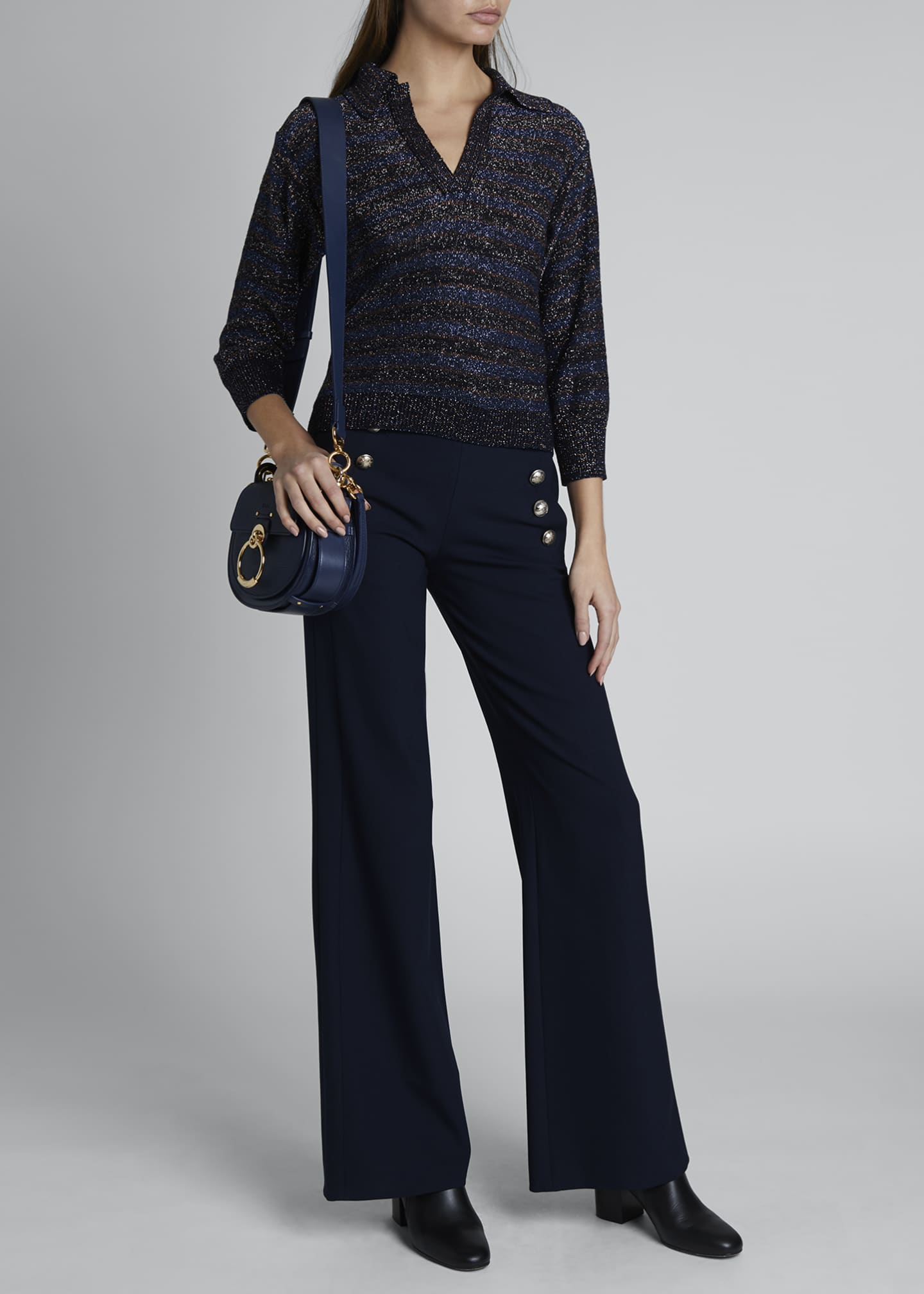 Image 1 of 3: High-Waist Flare Leg Sailor Trousers