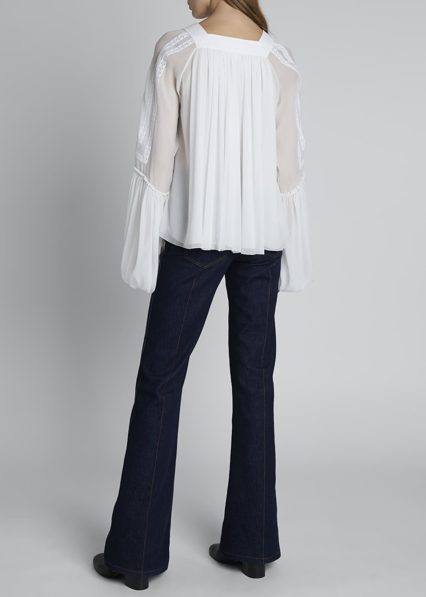 Image 2 of 3: Embroidered Shoulder Square-Neck Balloon-Sleeve Top
